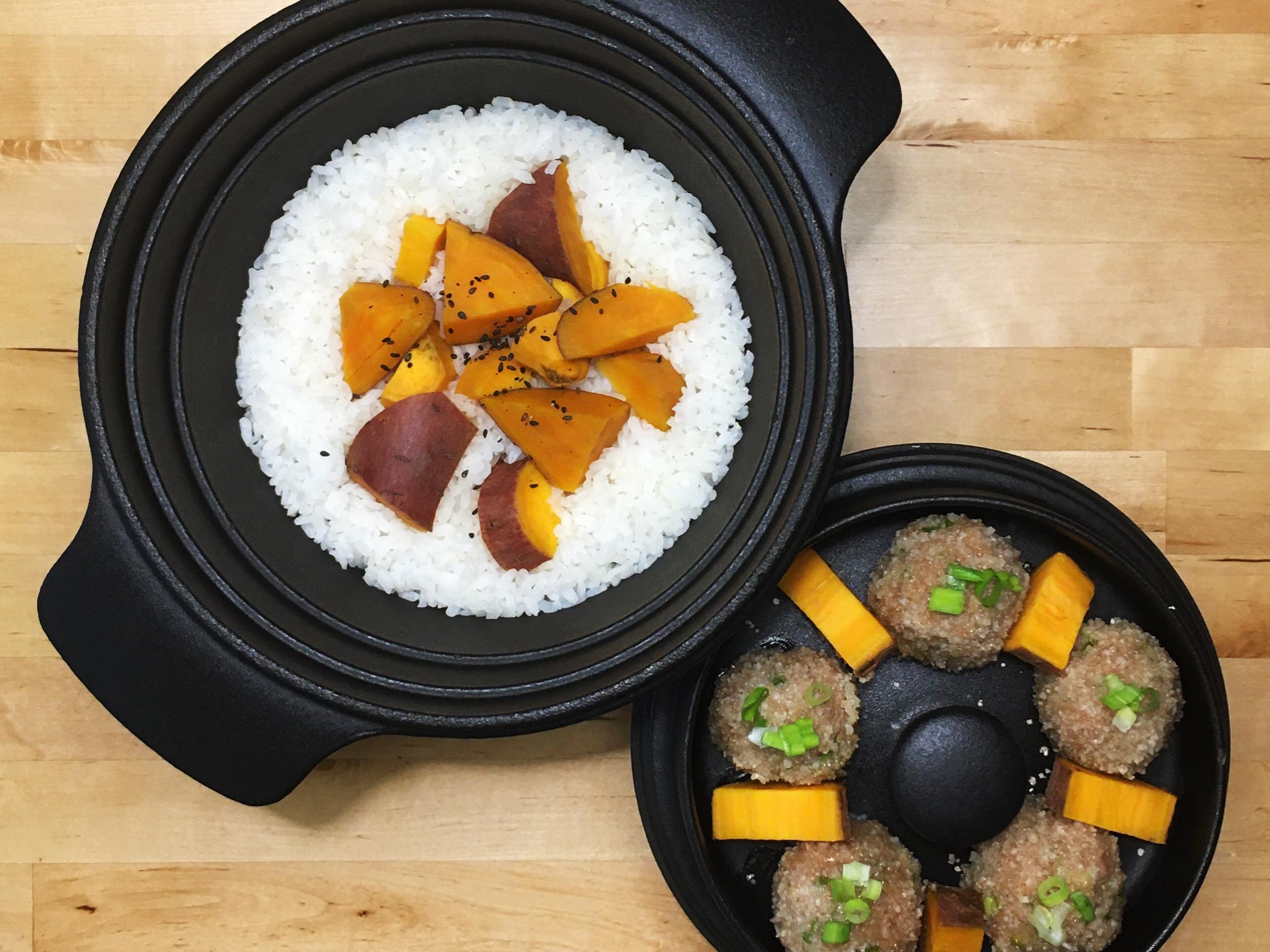 粉蒸地瓜肉丸+地瓜飯