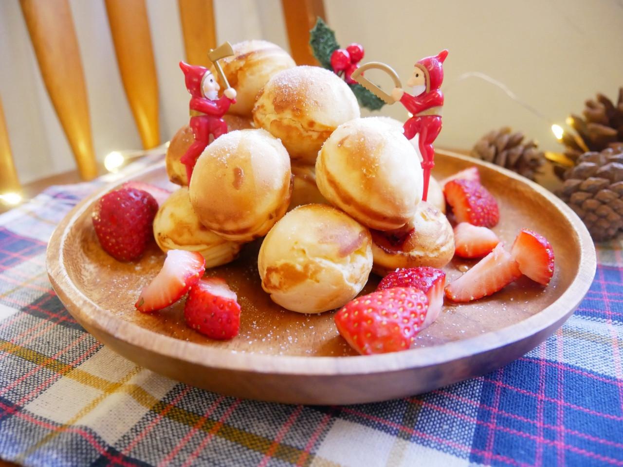 圓滾滾「草莓鬆餅球」口感外脆、內酸甜。