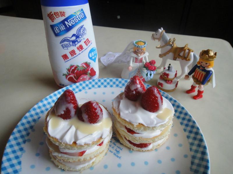 <草莓就愛鷹牌煉奶>鮮奶油草莓小蛋糕