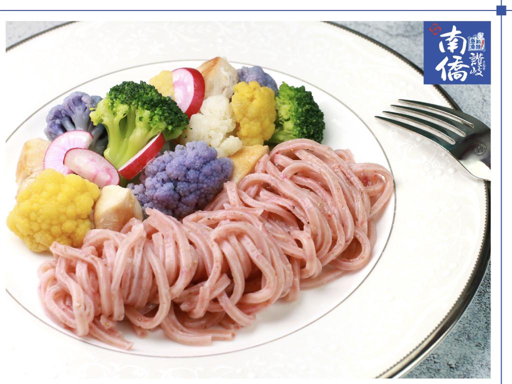 【南僑讚岐】七彩紫花嫩雞拌紅藜麵
