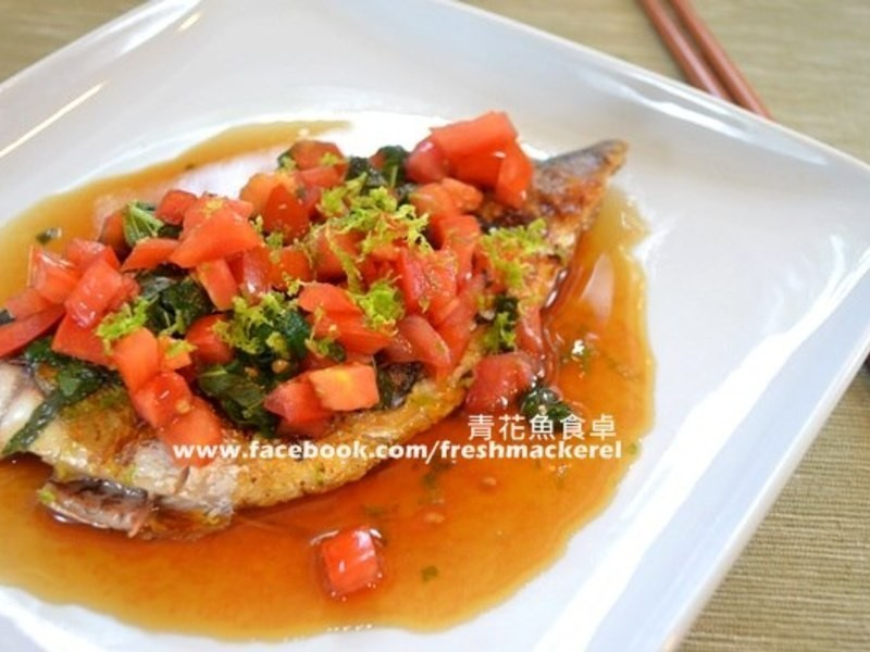 低熱量番茄紫蘇鯖魚燒