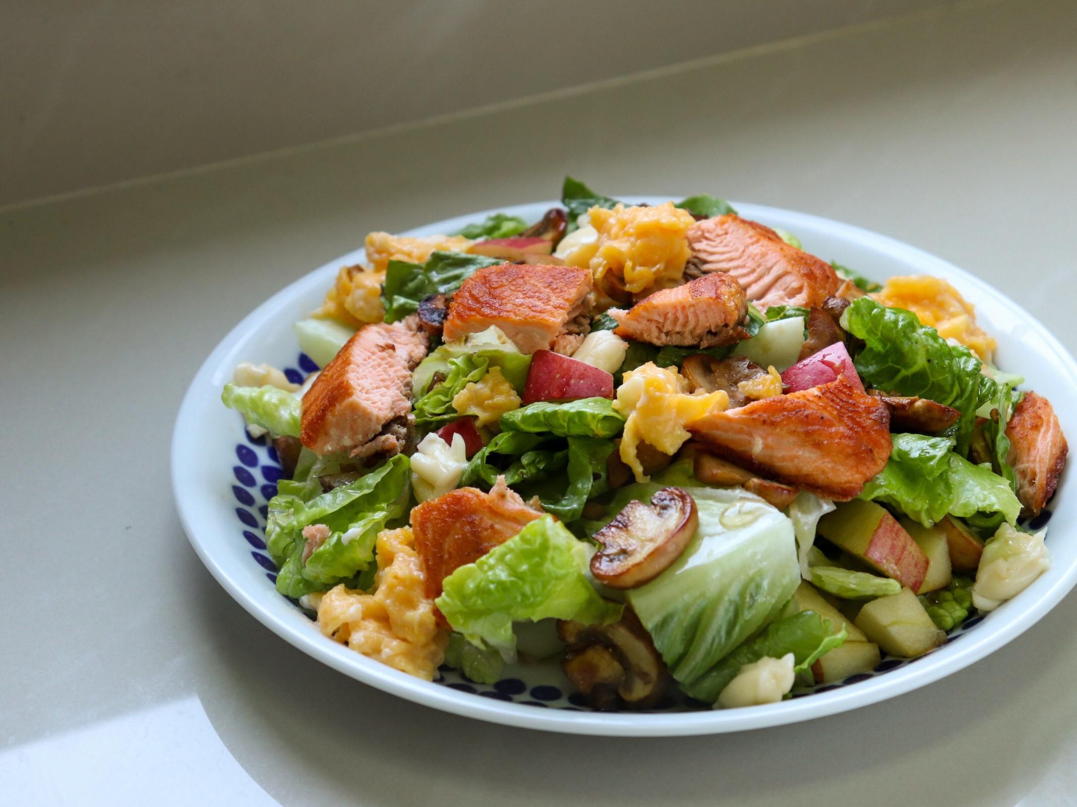 鮭魚炒菇水果沙拉🥗