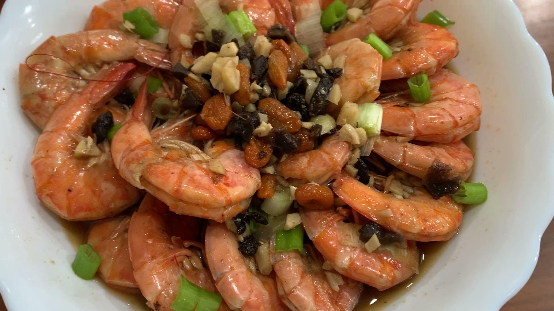 老菜脯蒸蝦,零廚藝蒸出鮮甜海味