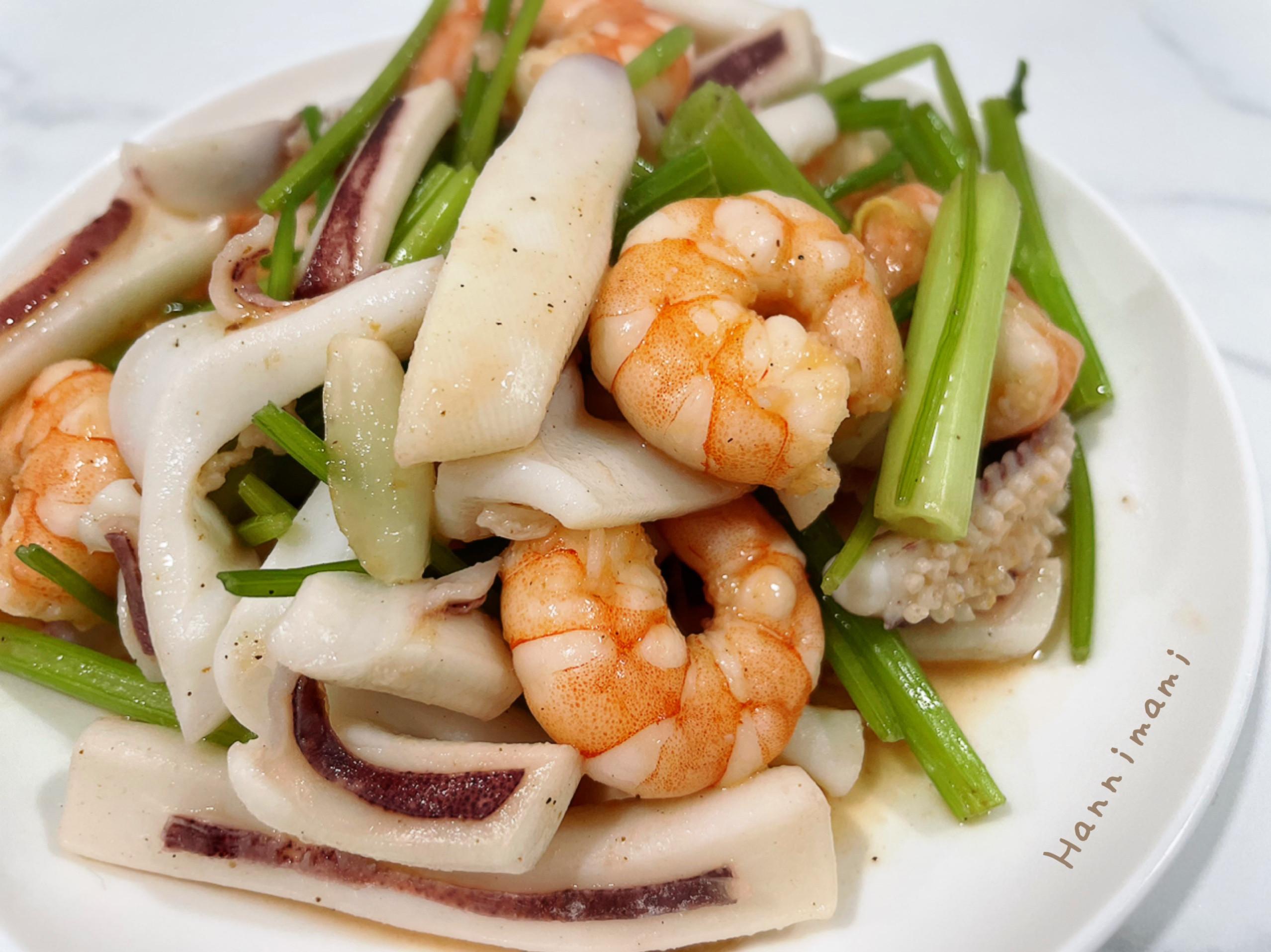 芹菜炒花枝蝦