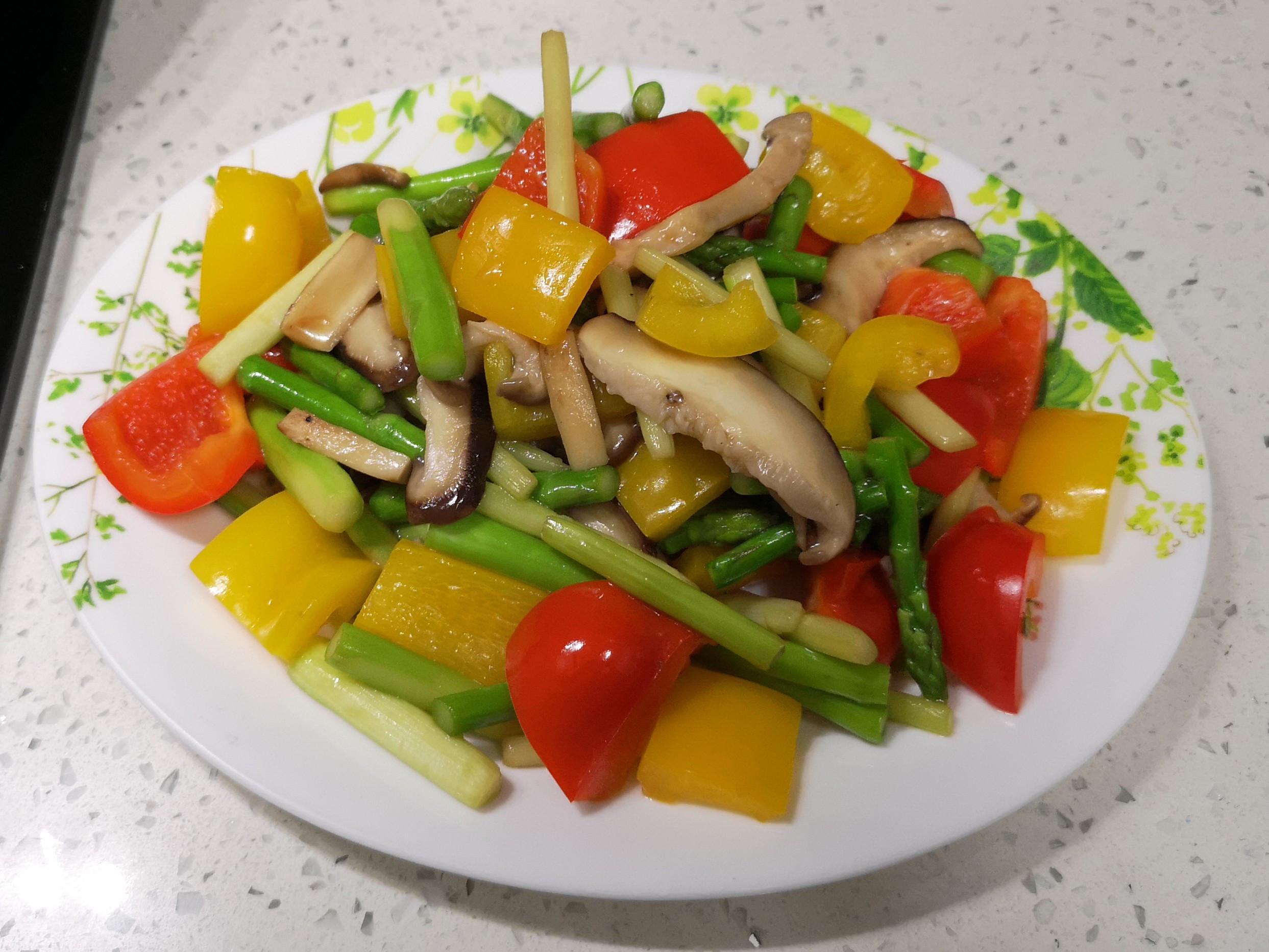蘆筍菇菇炒雙椒
