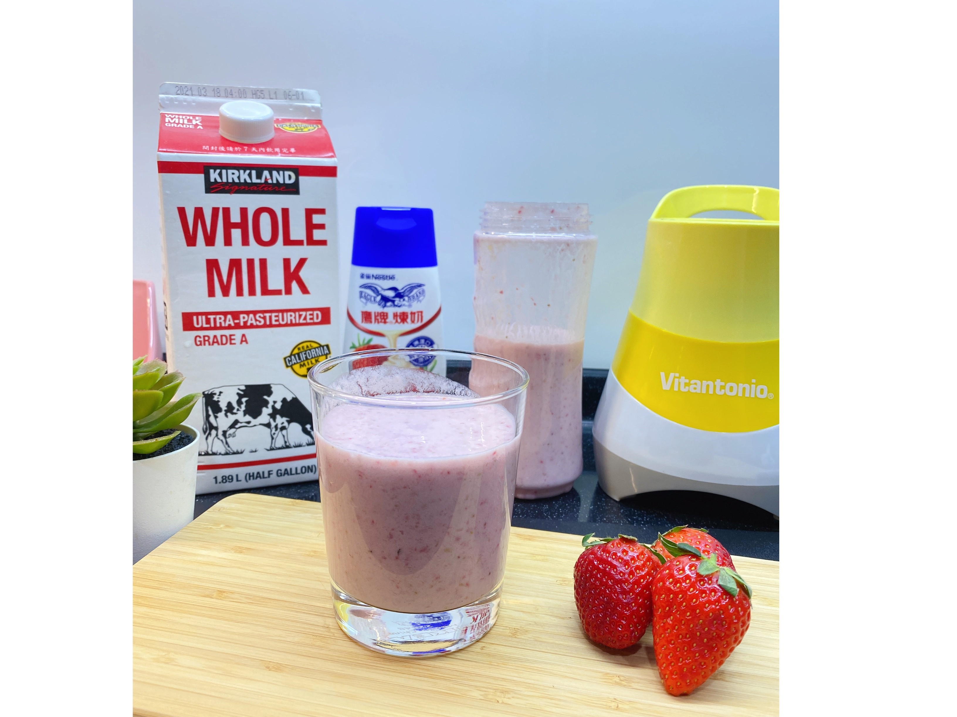 草莓牛奶鮮果汁|親子料理