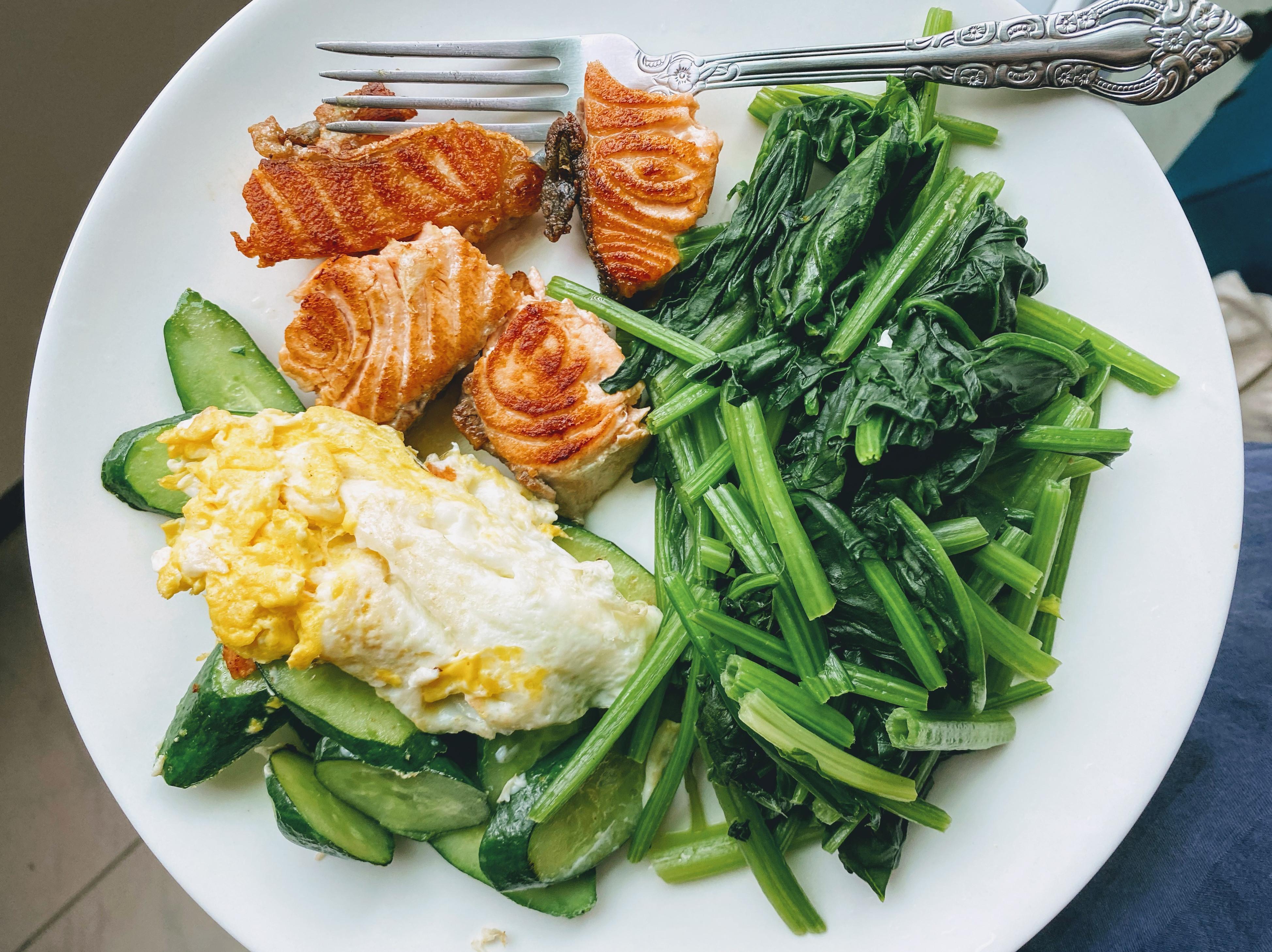 [減脂餐]S10-2 鮭魚菠菜小黃瓜與蛋