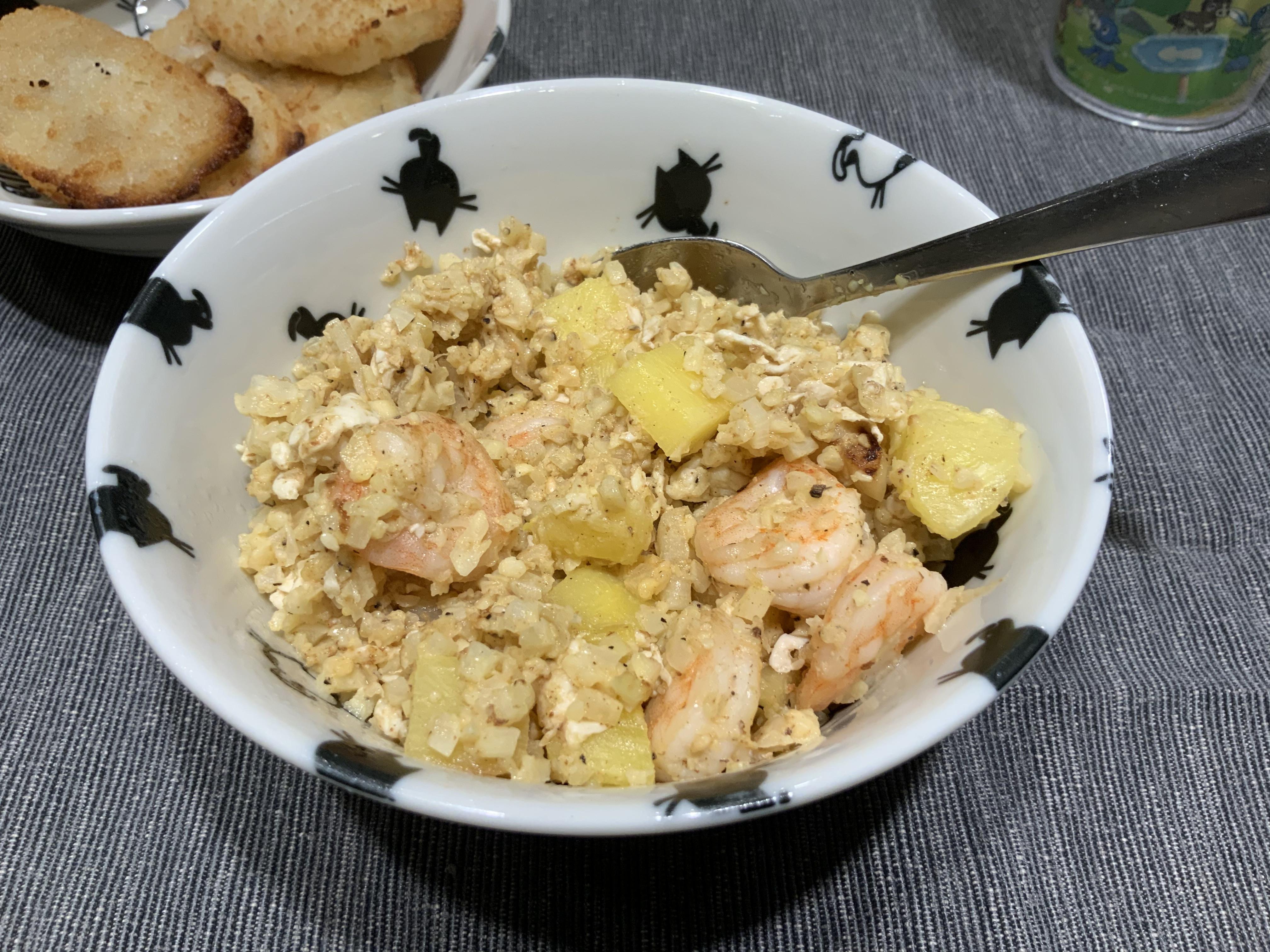 花椰菜米蝦仁鳳梨炒飯(生酮低碳)