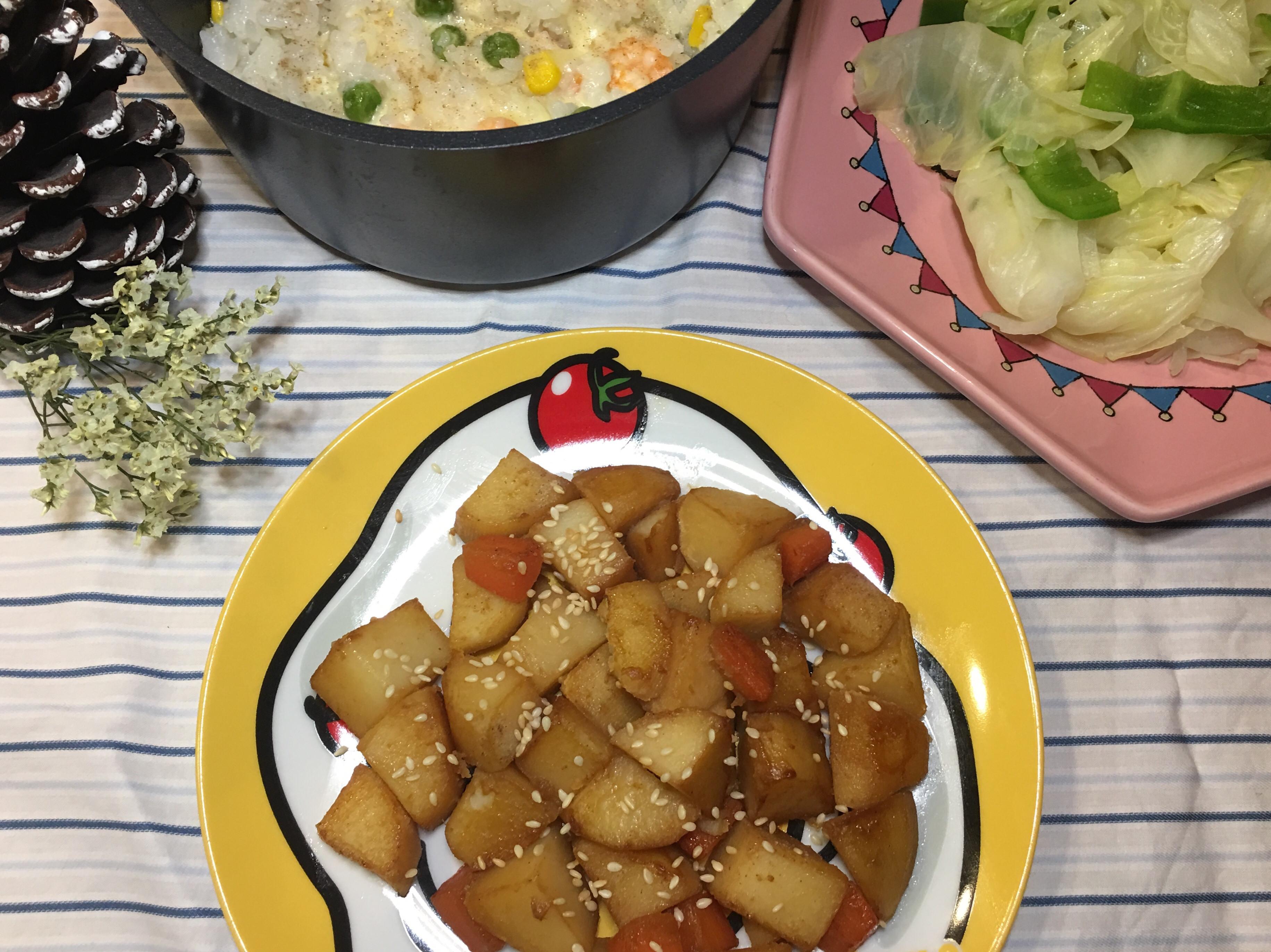 迷迭香葉起司燉飯&醬炒馬鈴薯
