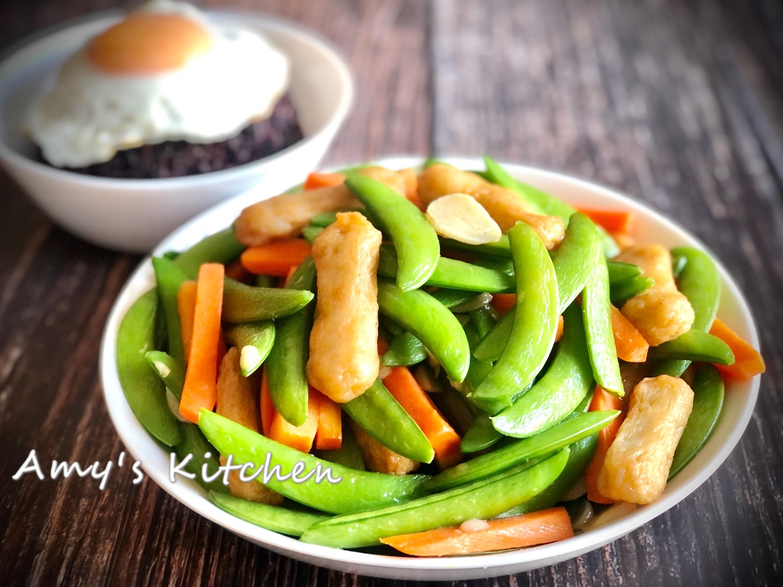 家常菜-甜不辣炒甜豆