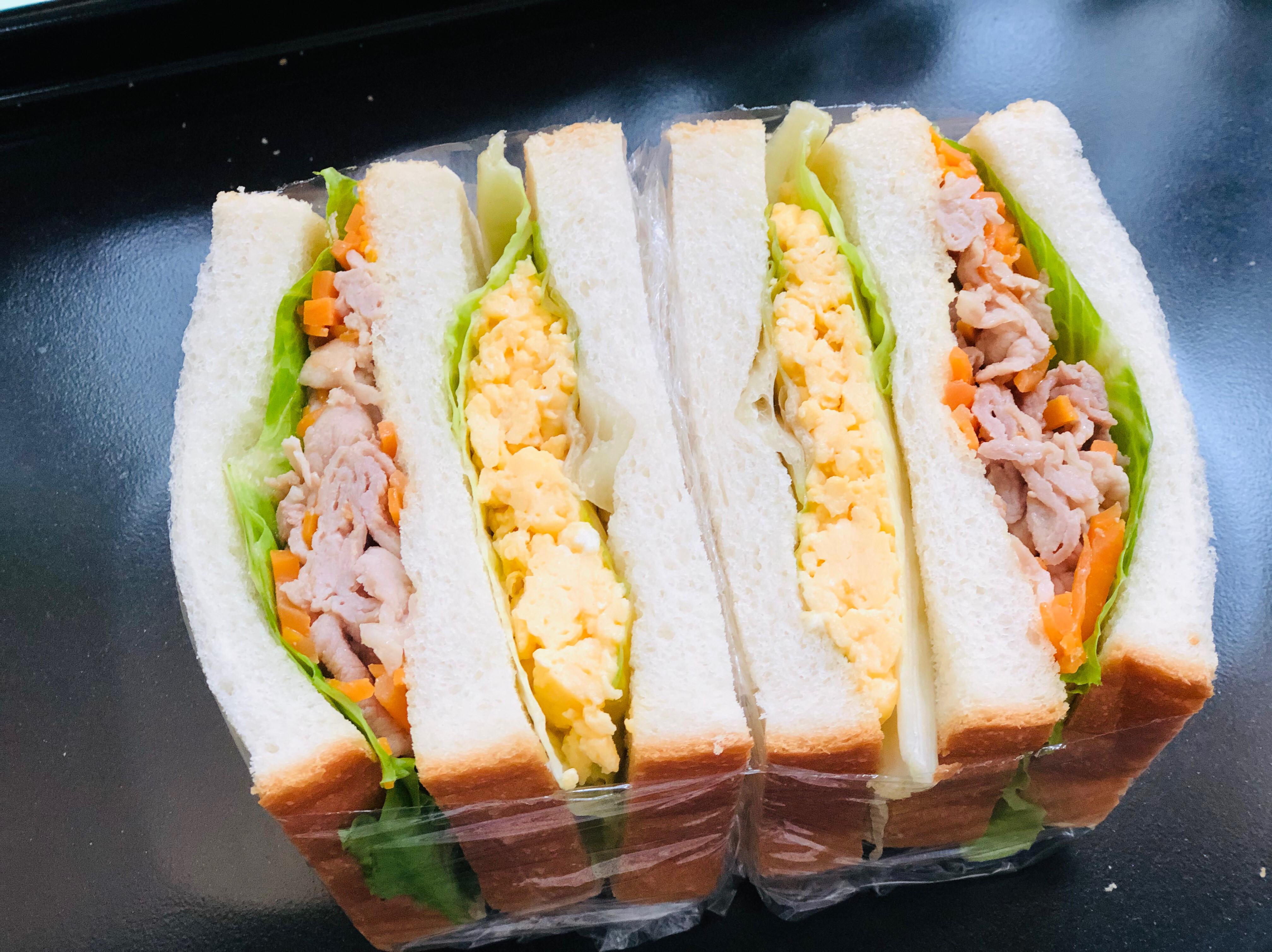 紅蘿蔔炒肉雞蛋總匯三明治