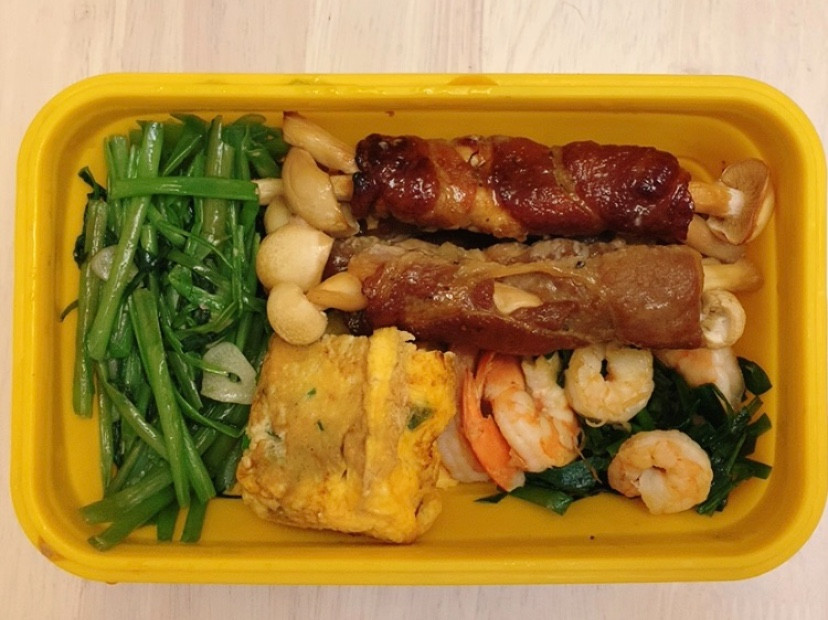 減醣便當 梅花豬肉捲白精靈菇+韭菜炒蝦仁