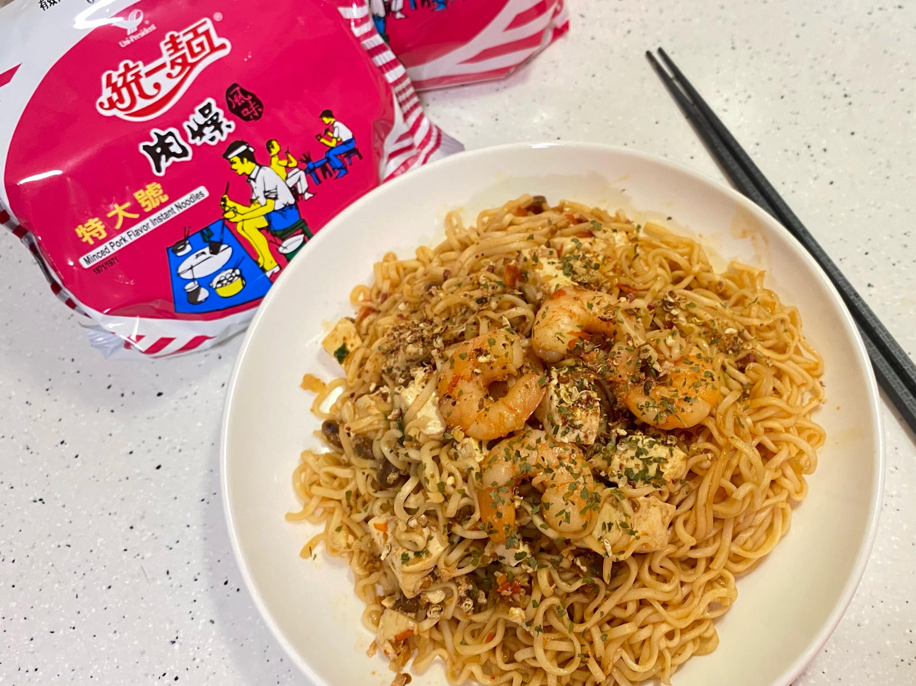 麻婆蝦仁豆腐炒泡麵