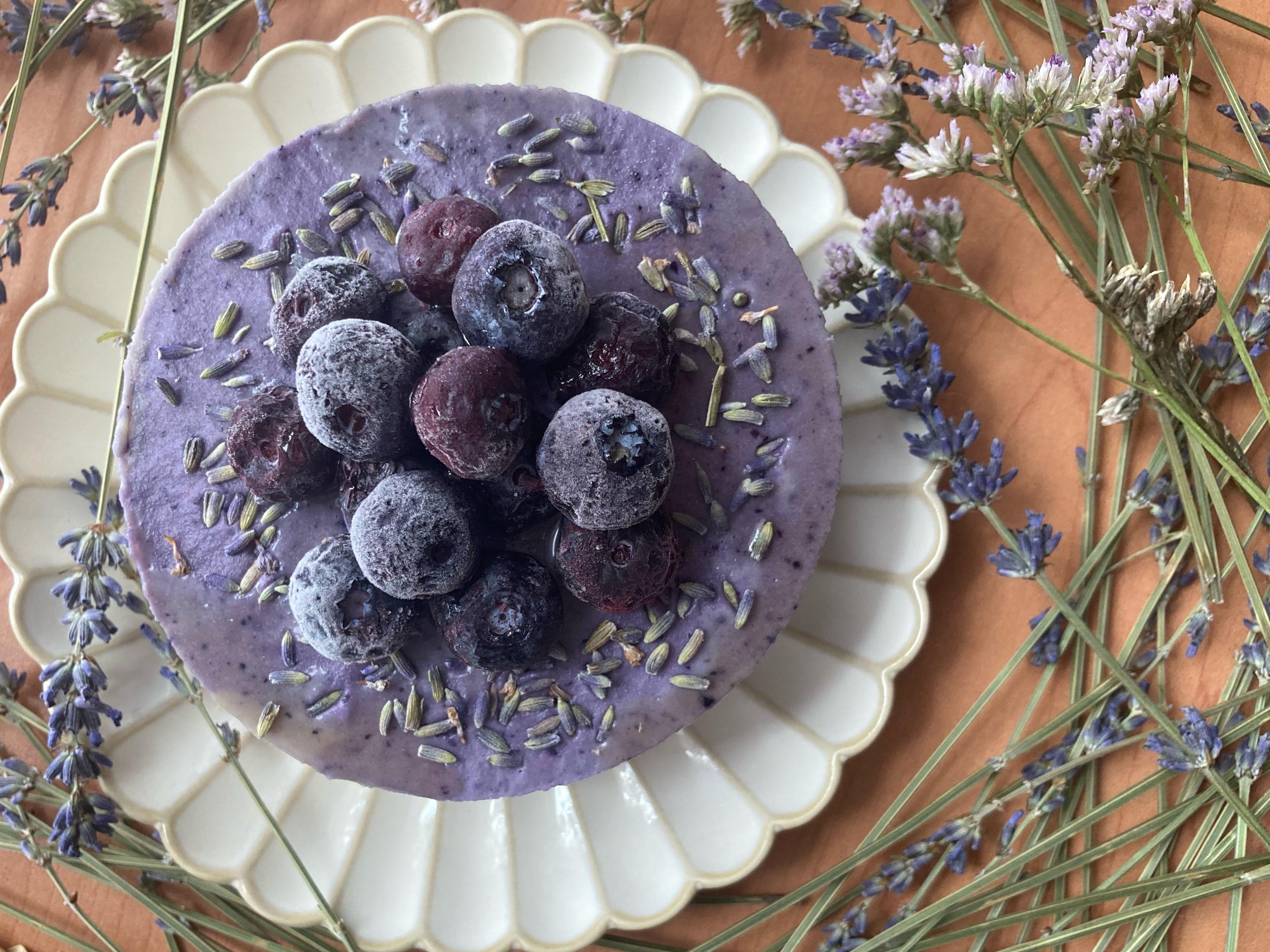 藍莓佐薰衣草(偽)起士蛋糕(純素)