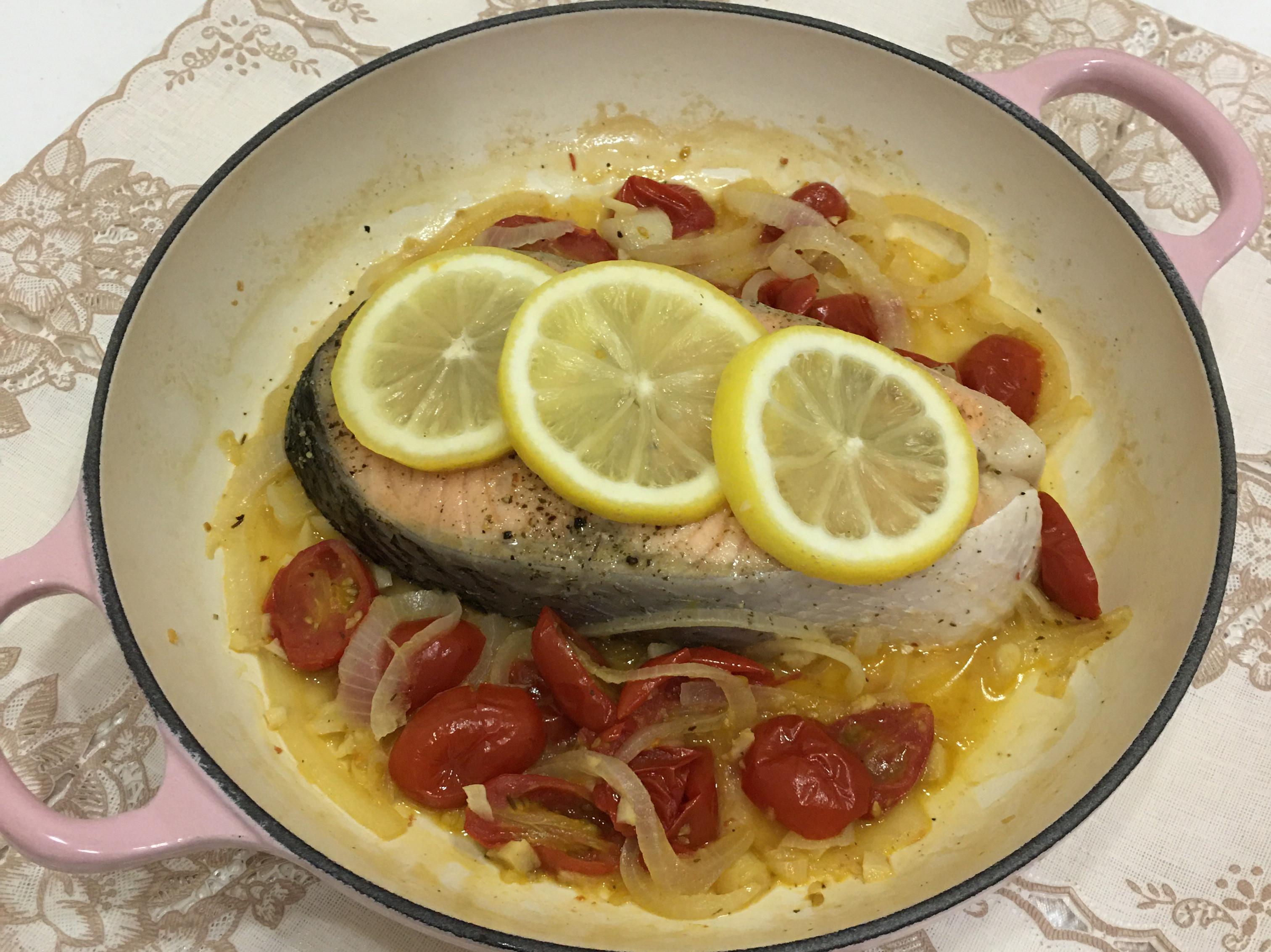 白酒檸檬鮭魚
