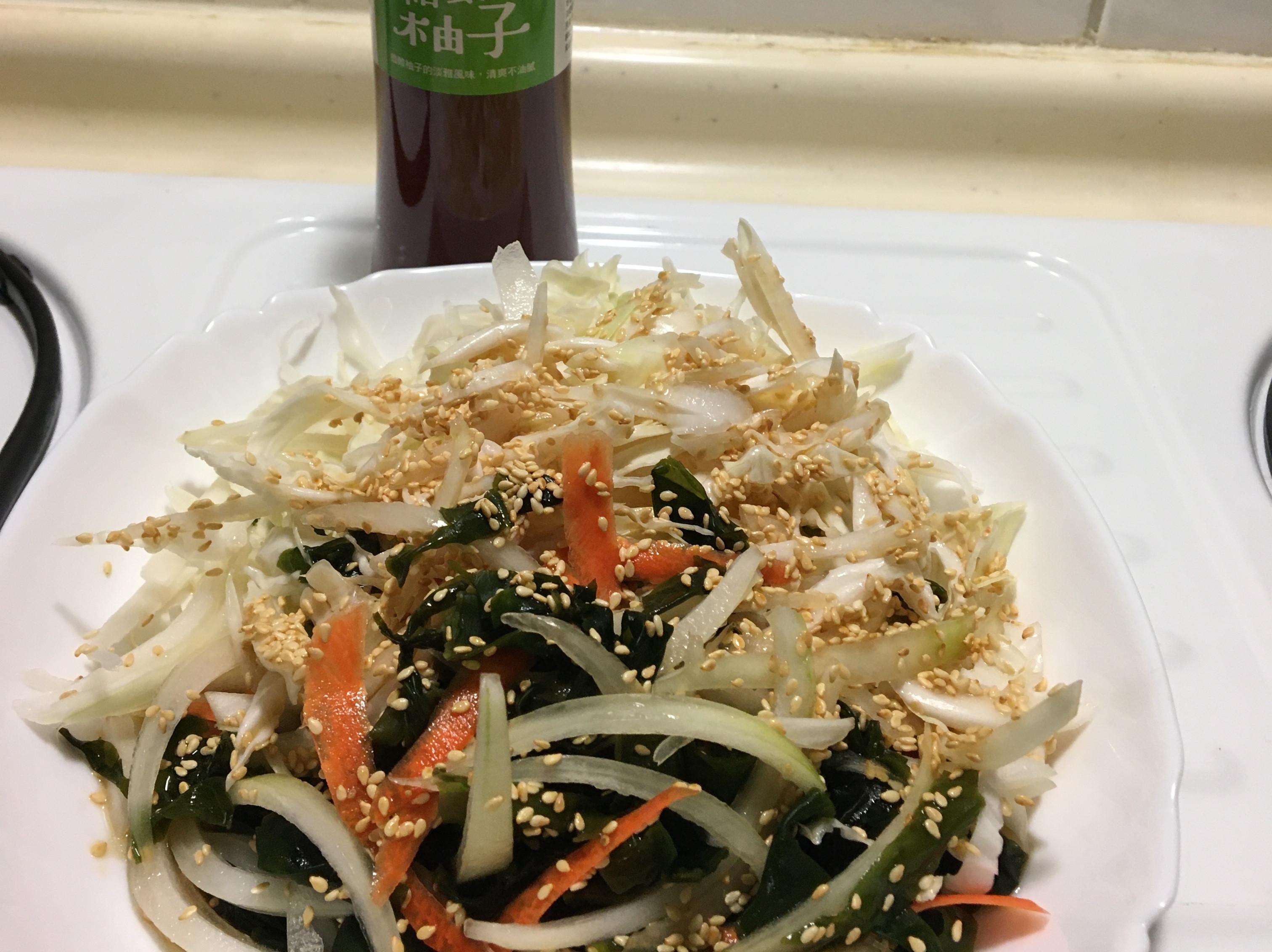 涼拌洋蔥海帶芽➕和風柚子醬