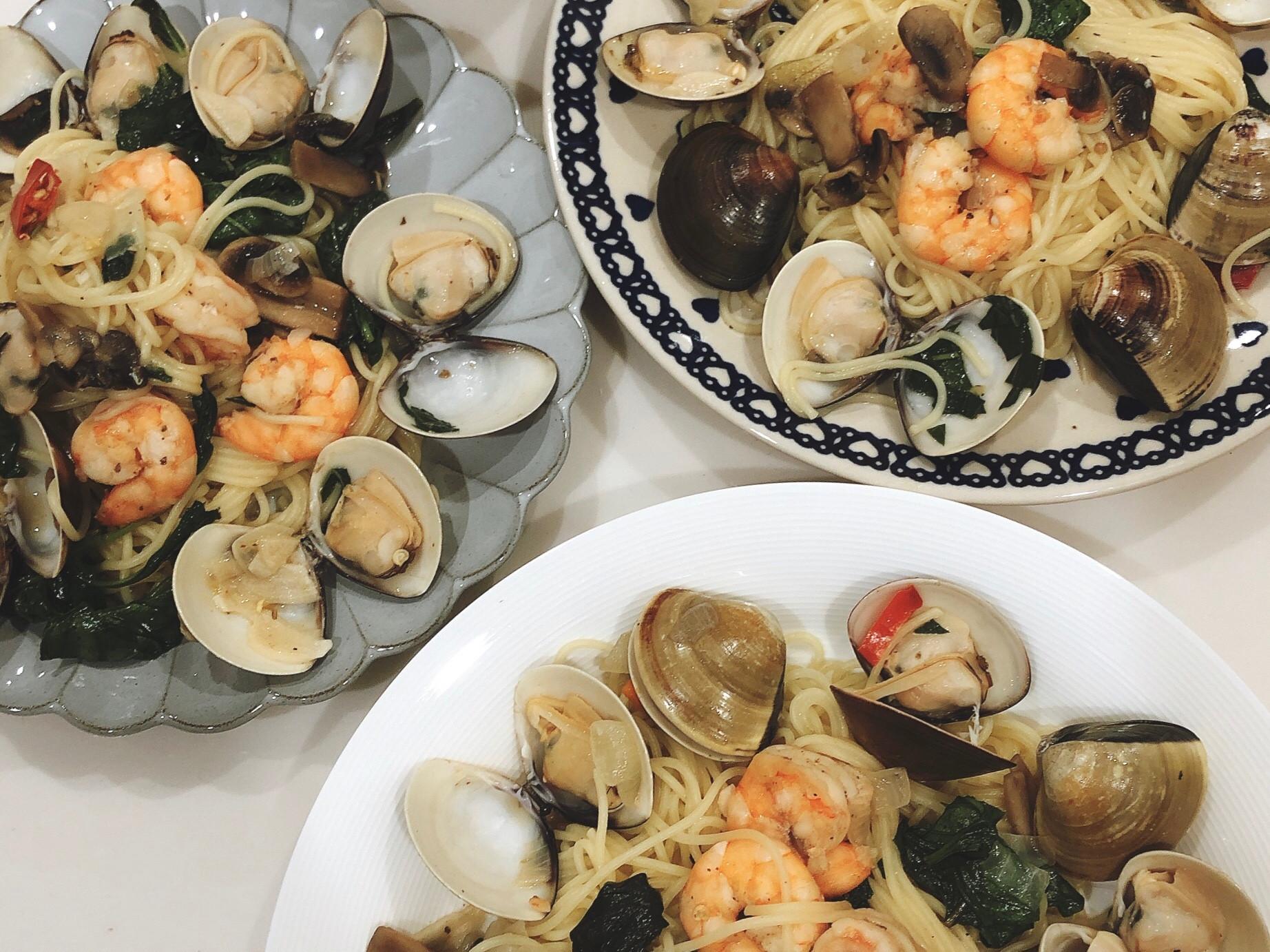 辣味清炒鮮蝦蛤蜊義大利麵