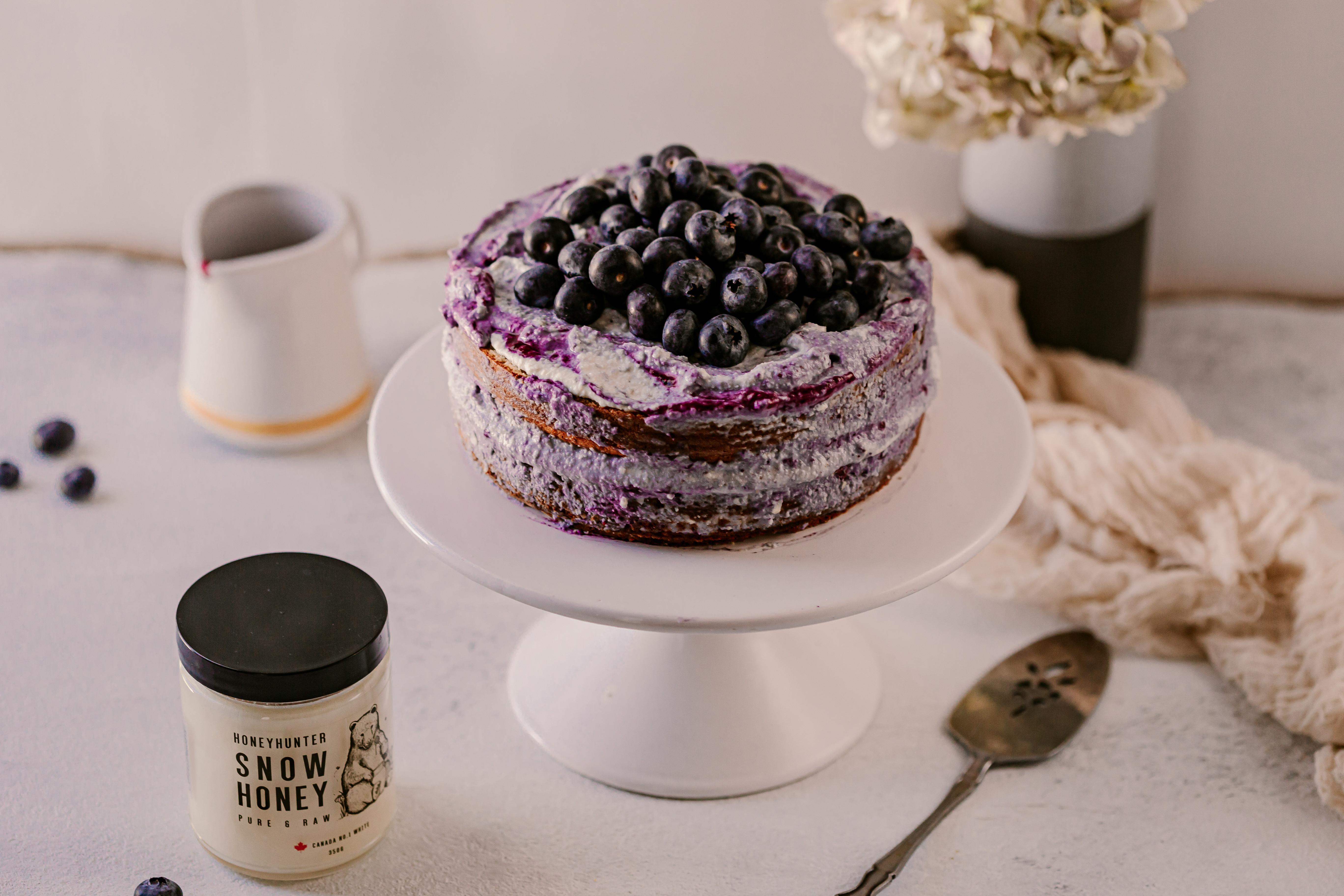 藍莓大理石紋裸蛋糕(無麩質、無糖)