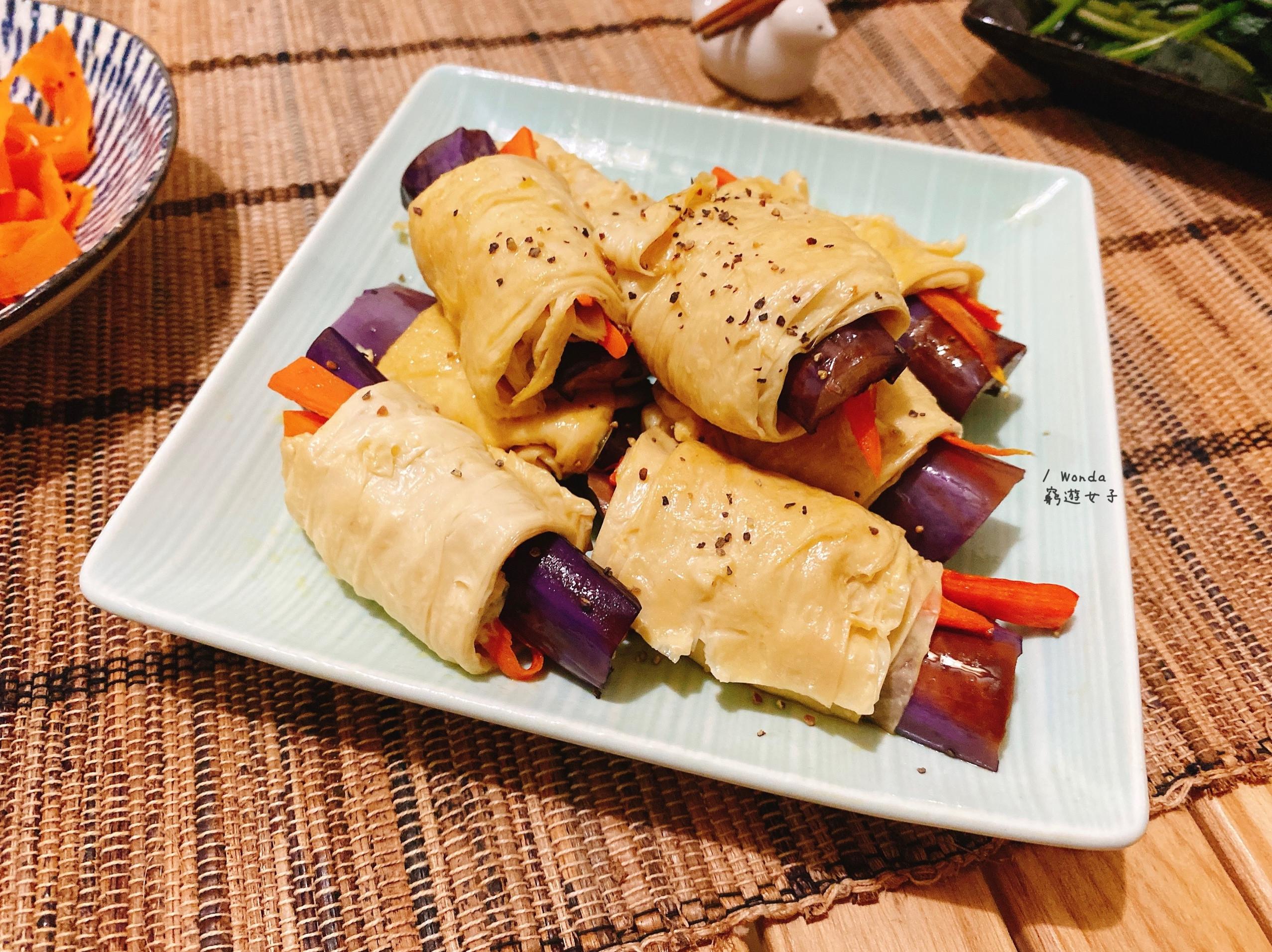 腐皮紫茄卷|15分鐘素食