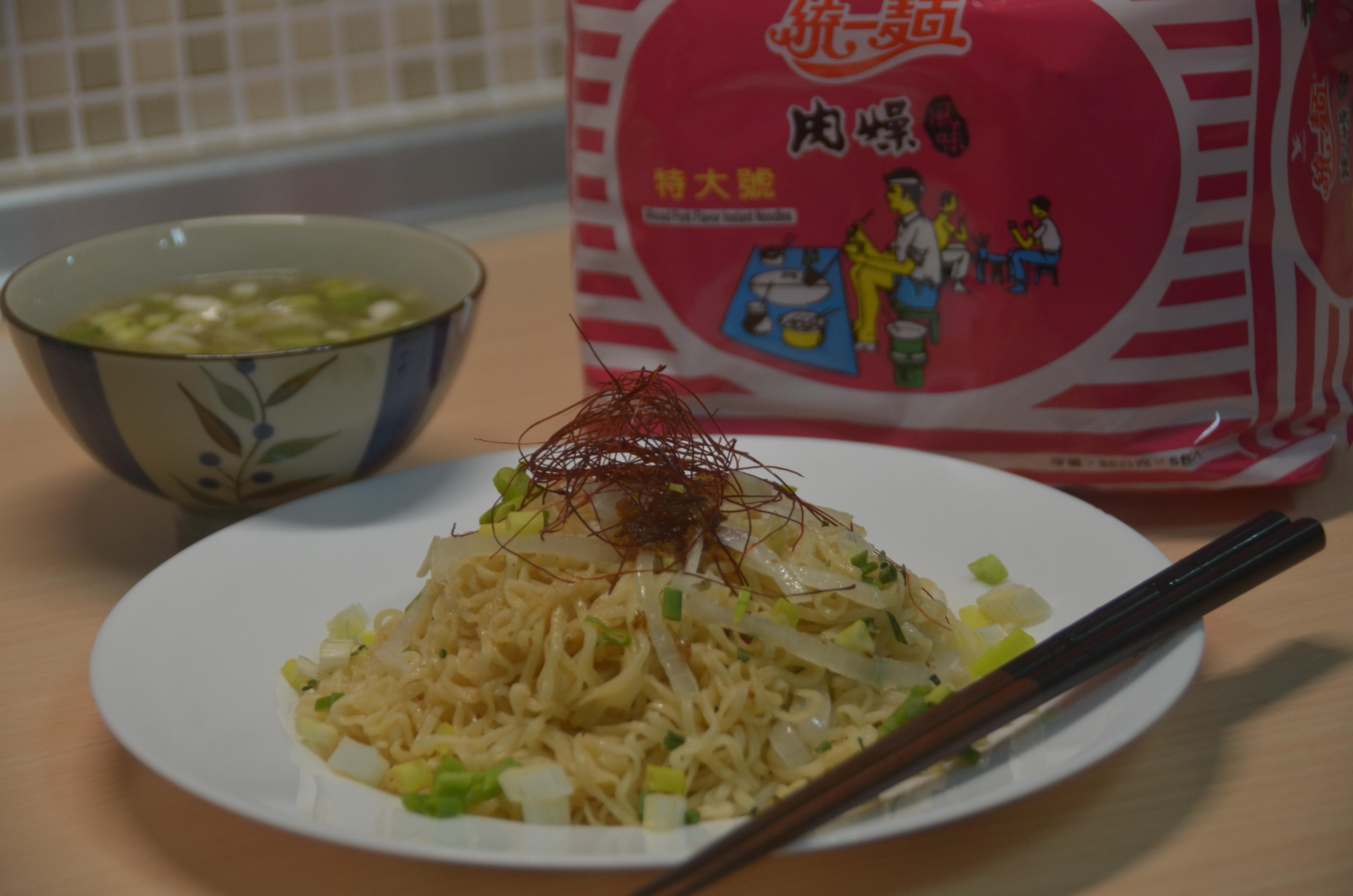 雙蔥炒泡麵附湯套餐