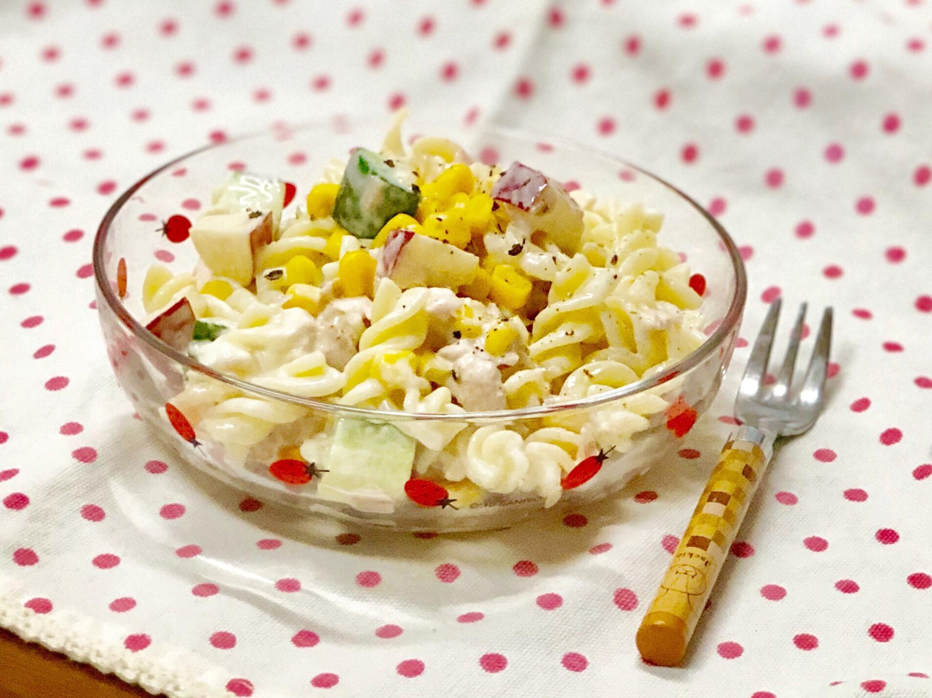 鮪魚玉米沙拉螺旋麵-冰涼好吃