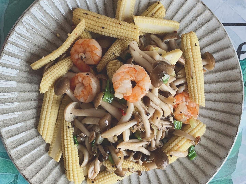 鴻禧菇玉米筍炒蝦仁