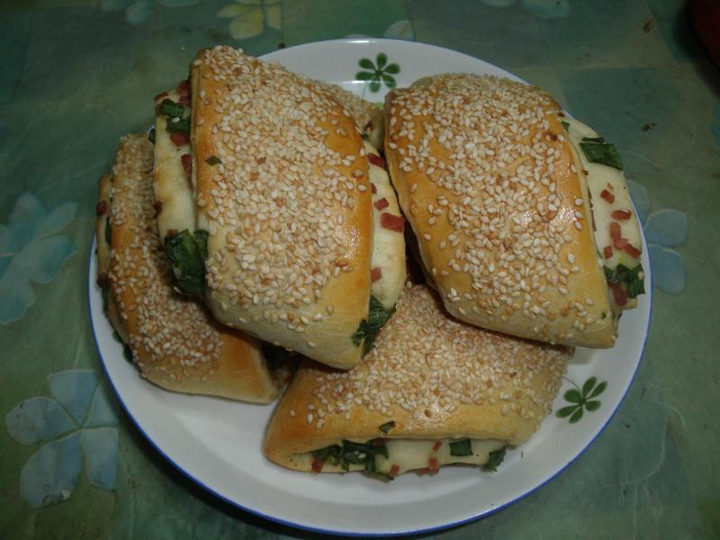 烤蔥花火腿捲餅