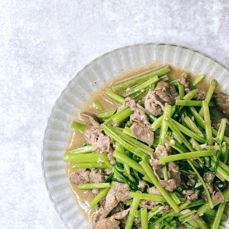 空心菜炒牛肉食譜 |肉片不用過油就很鮮嫩