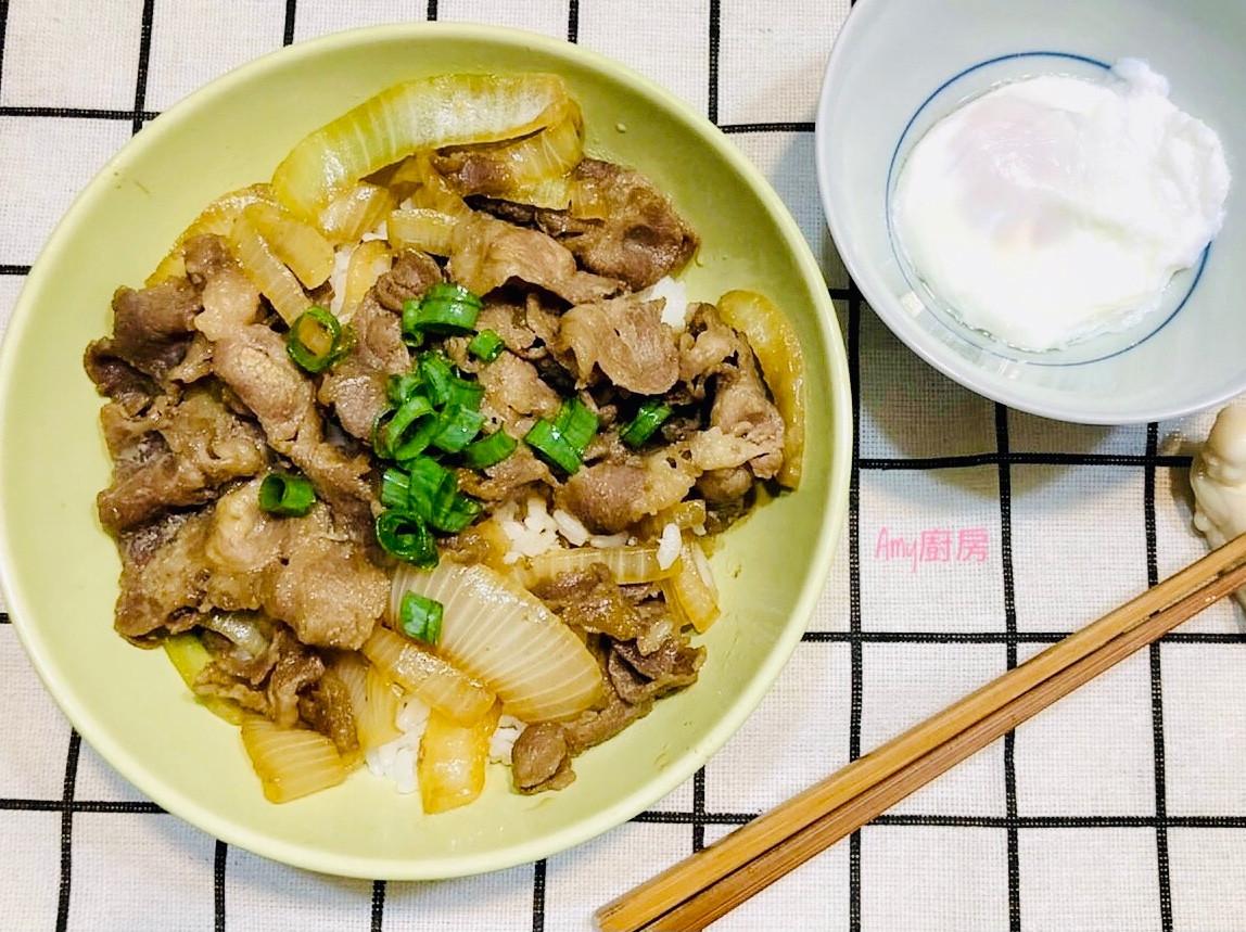 牛肉丼飯佐半熟水波蛋(簡單易上手)