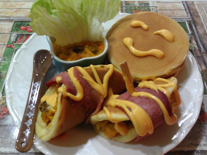【Take a bread!創意三明治、麵包早餐】培根南瓜泥美式鬆餅