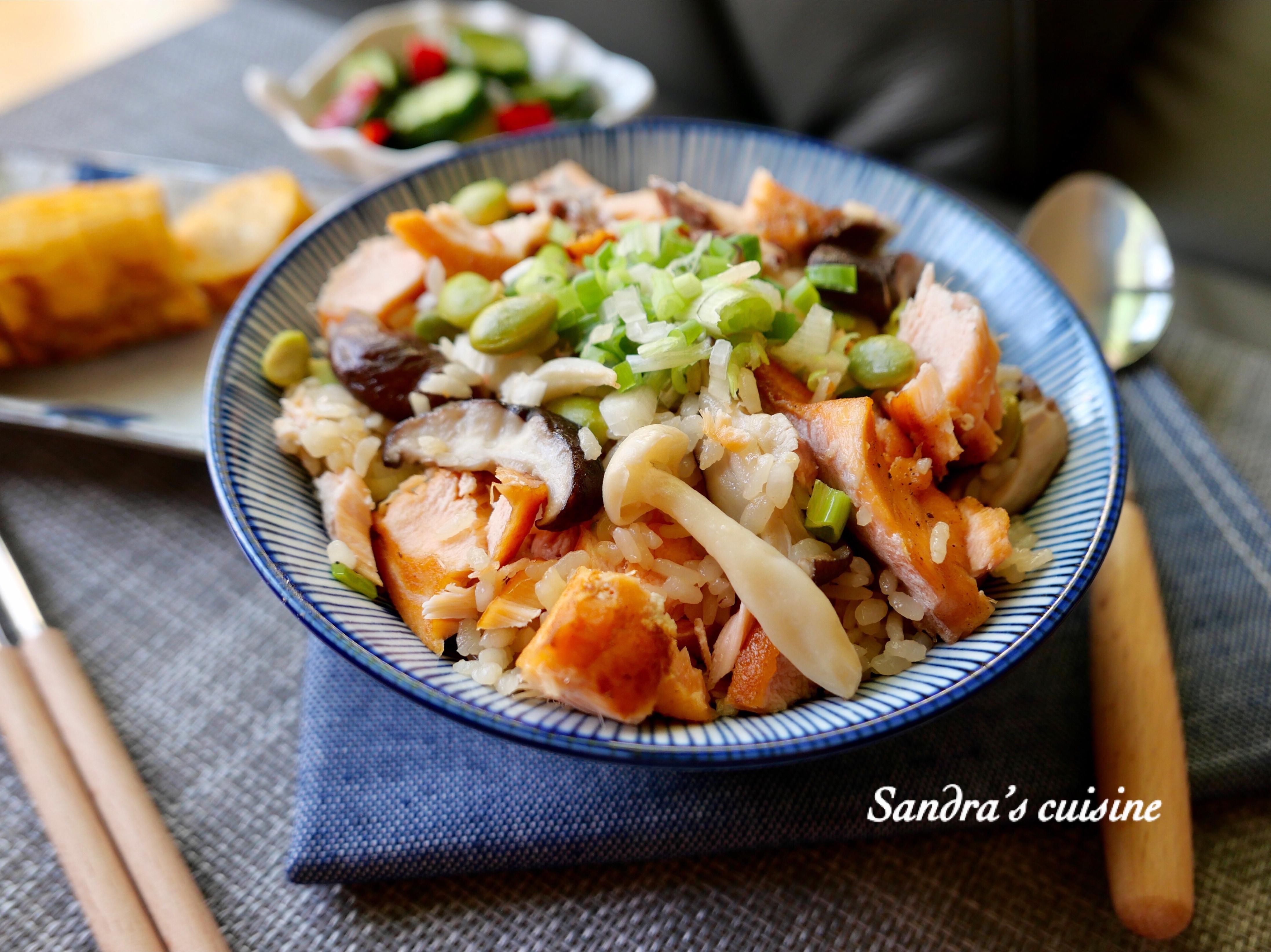 毛豆野菇鮭魚炊飯
