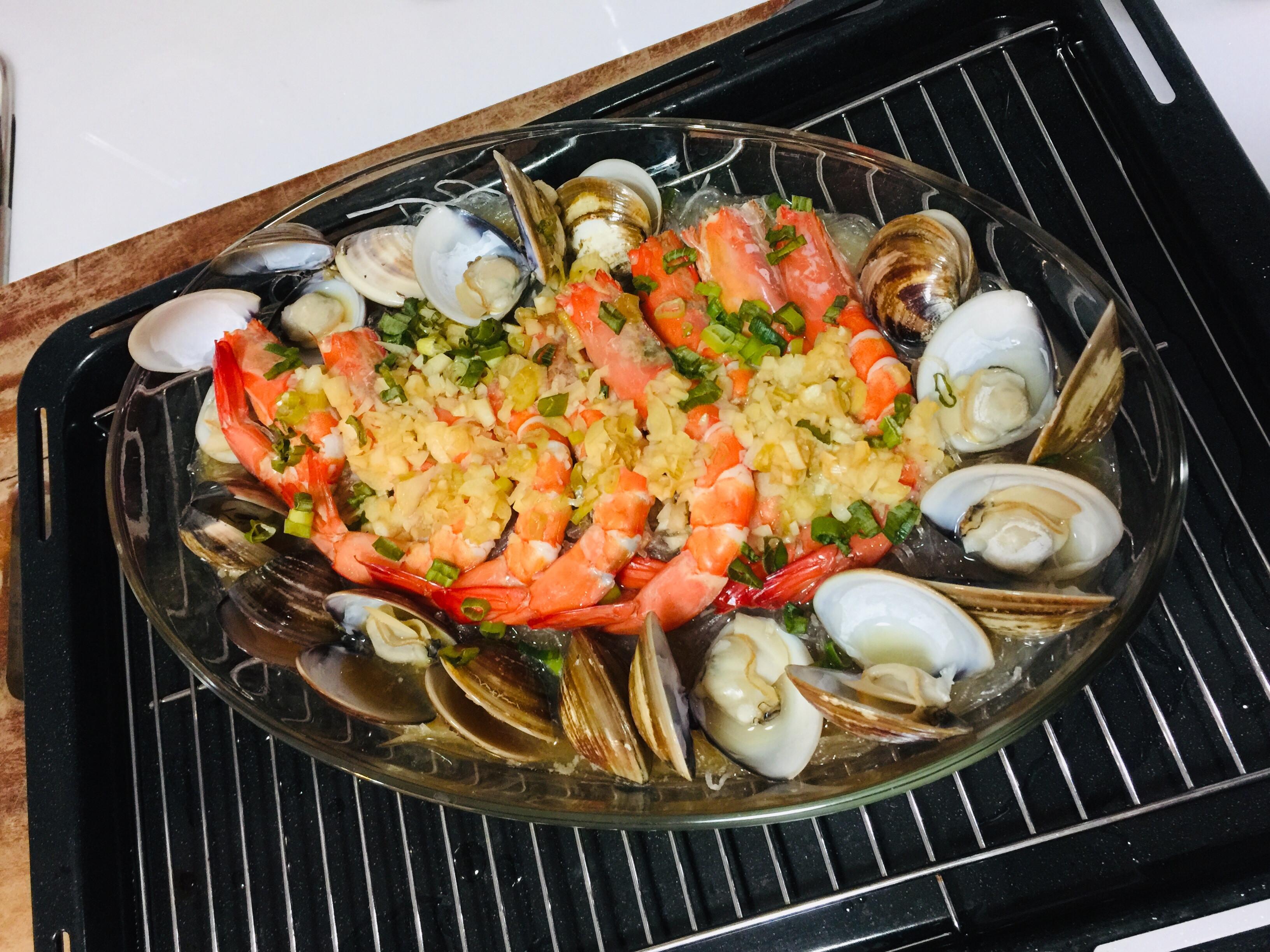 鮮蝦蛤蜊蒸粉絲,蒸氣烘烤爐料理