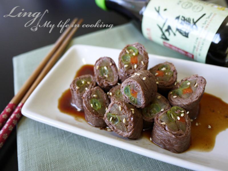 日式♪「萬家香大吟釀薄鹽醬油」牛肉八幡捲