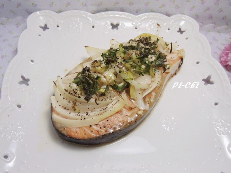 雙蔥烤鮭魚