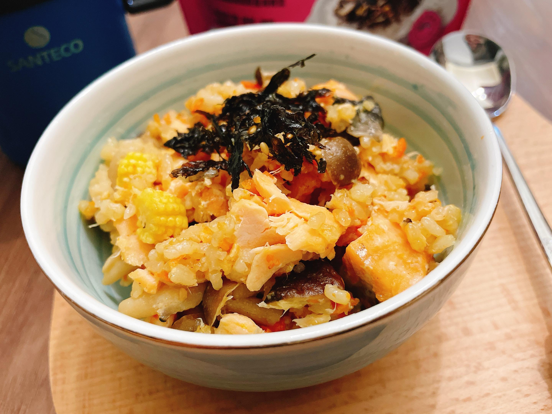 鮭魚菇菇炊飯~(電子鍋版)無敵好吃