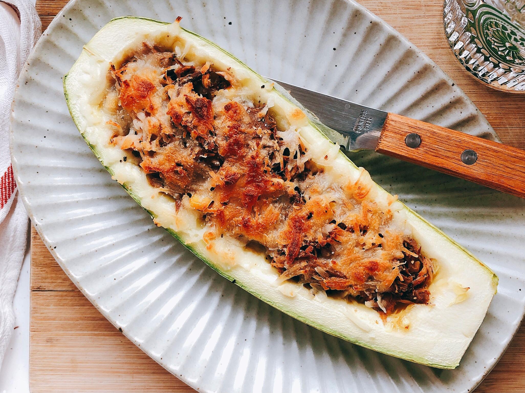 「低碳水」健康的鮪魚葫瓜披薩船pizza
