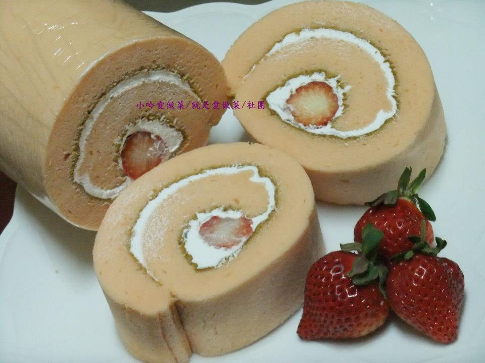 小吟愛做菜~『鮮奶油草莓瑞士捲』(18L烤箱量)