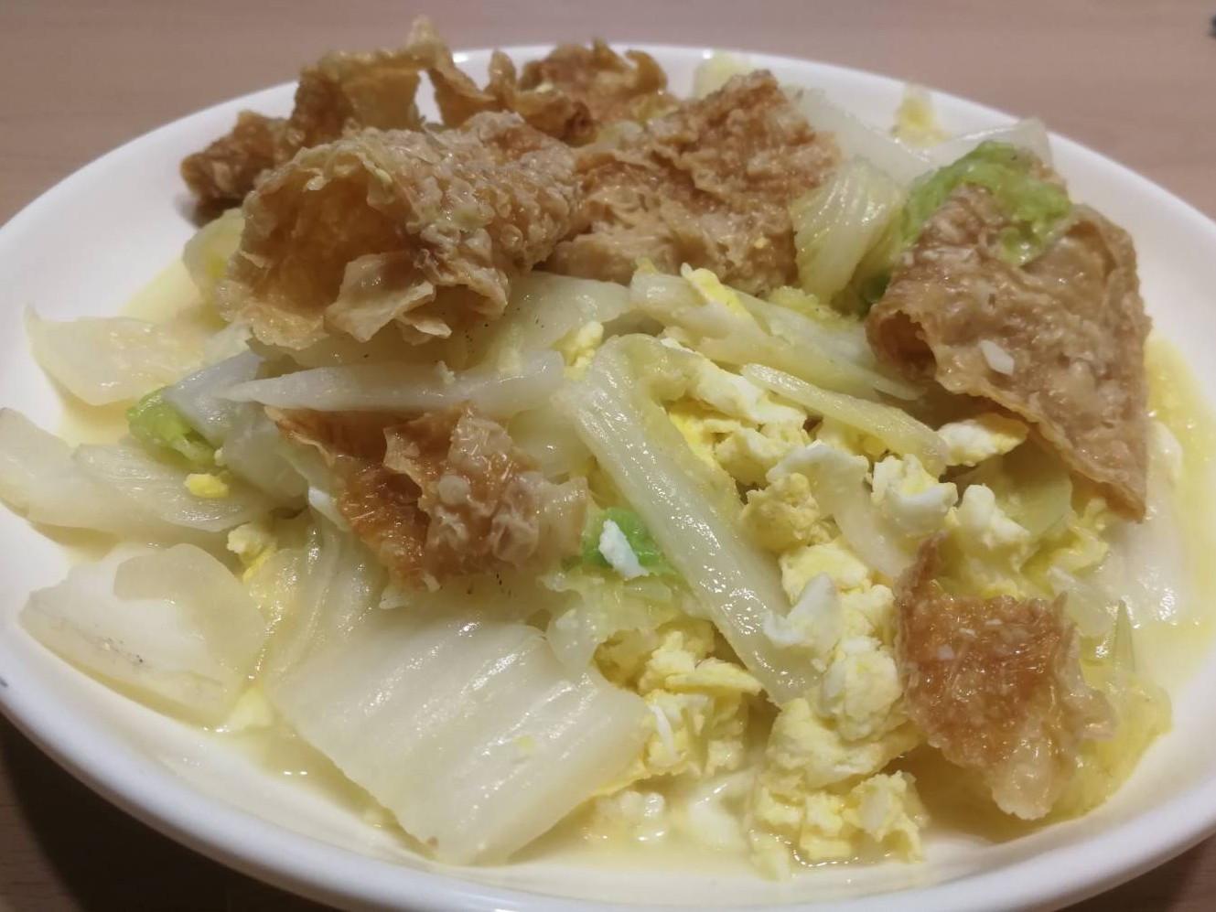 炒大白菜雞蛋豆皮