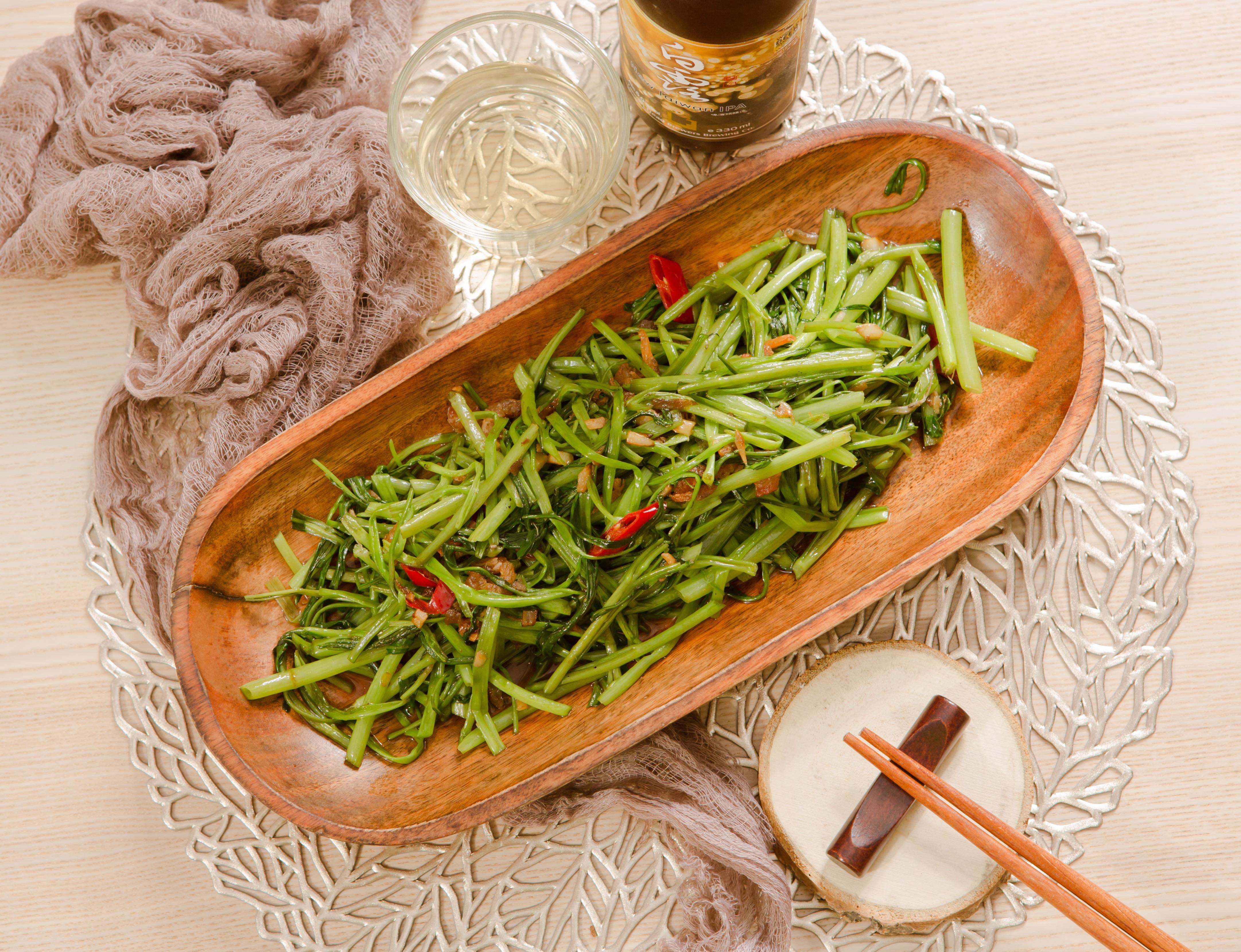 蝦醬炒空心菜(2人份)