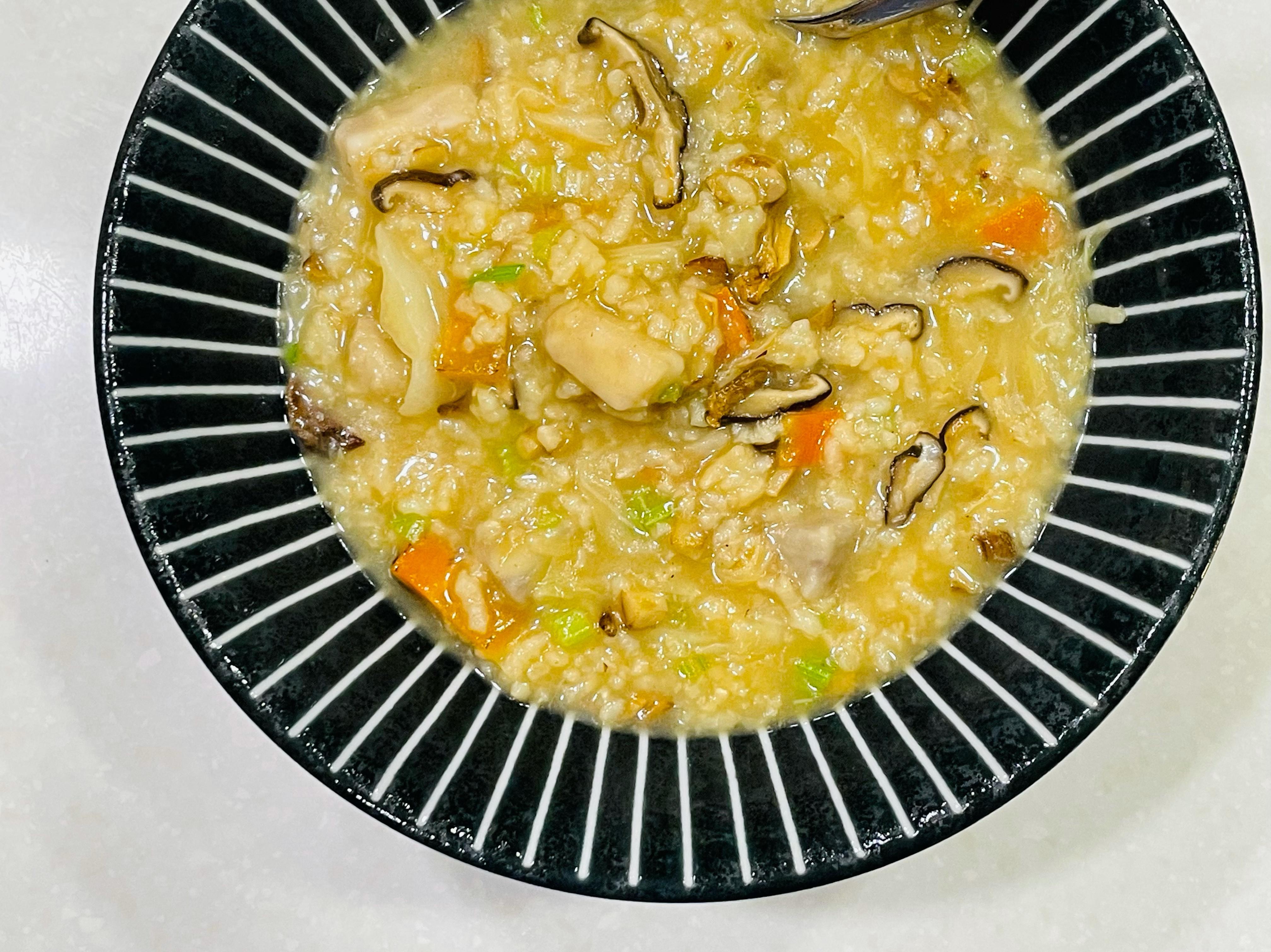 姬松茸蔬菜鹹粥(五辛素)