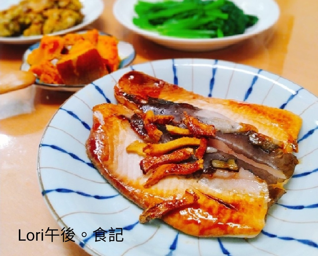 紅燒虱目魚+ 蜂蜜南瓜+ 煎茄子餅