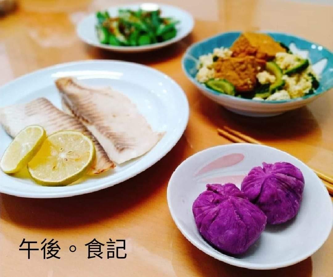 檸檬烤魚+苦瓜豆腐+醋秋葵+奶瓜包