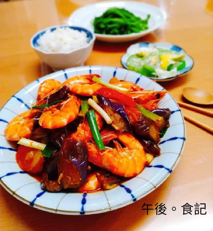雙茄燒蝦+蛋炒絲瓜+燙青菜