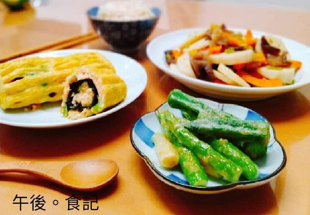 鮭魚蛋捲+芝麻蘆筍+木耳炒蓮藕