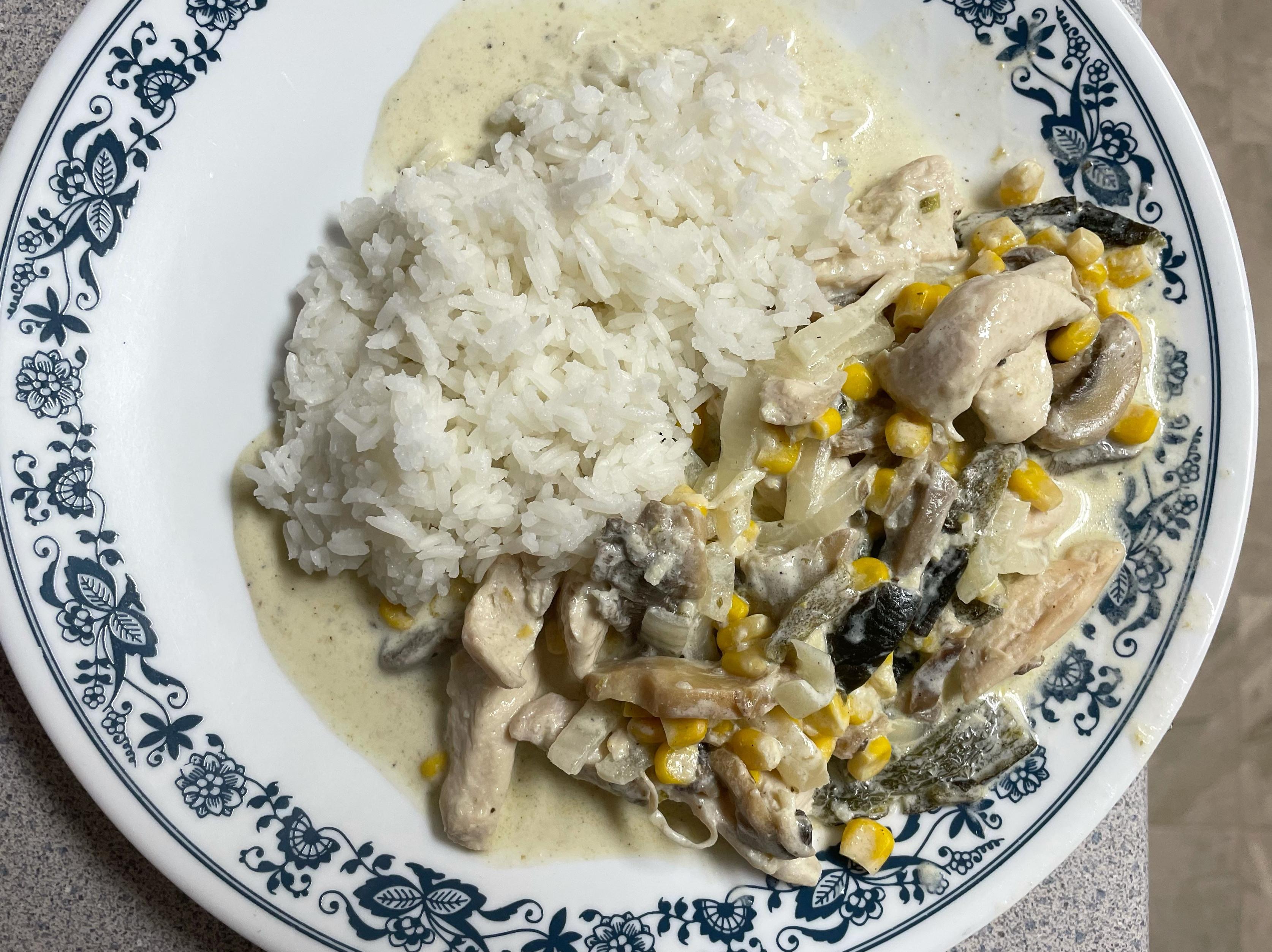 奶油雞肉蘑菇燴飯(🇲🇽波布拉諾辣椒