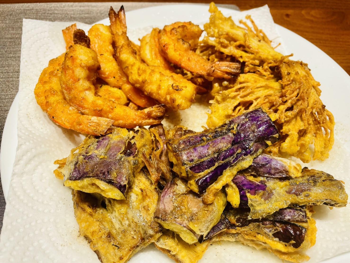 茄子、金針菇、蝦子天婦羅