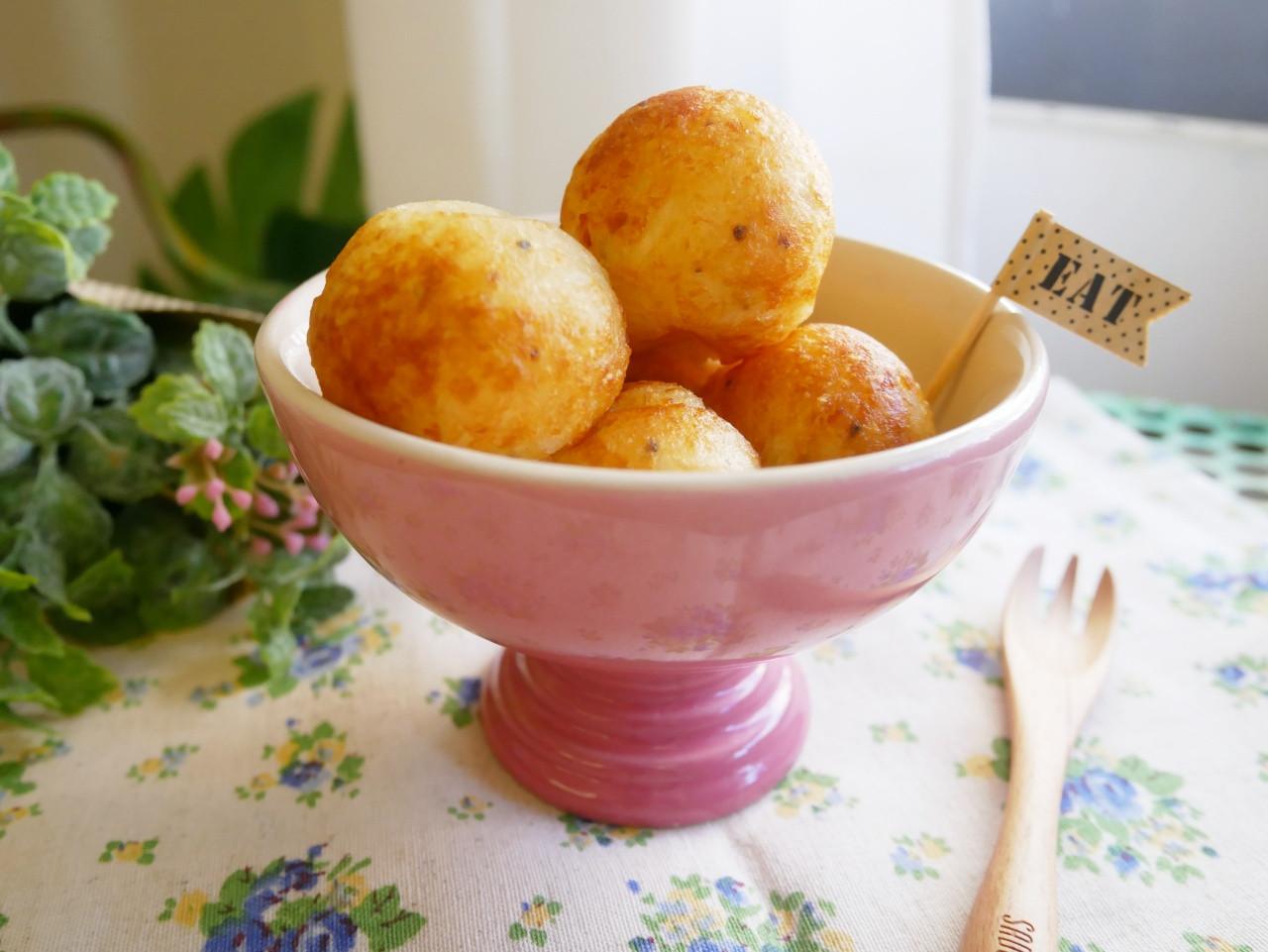 電烤盤「馬鈴薯起士球」好誘人的牽絲起士~
