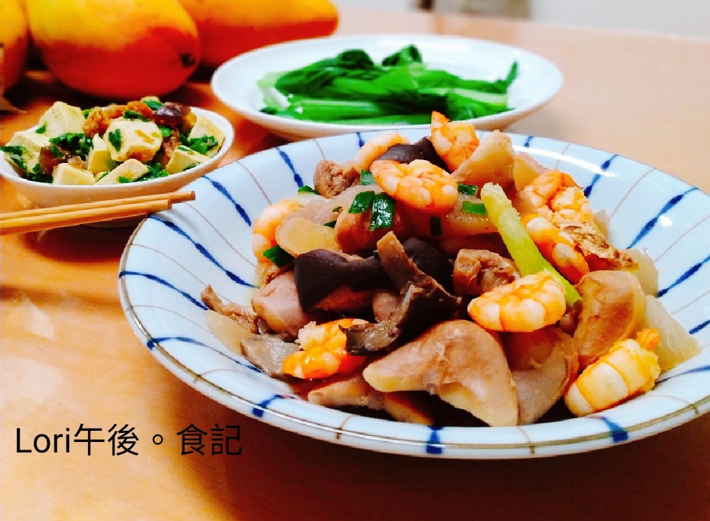 菱角燒蝦+韭菜皮蛋豆腐