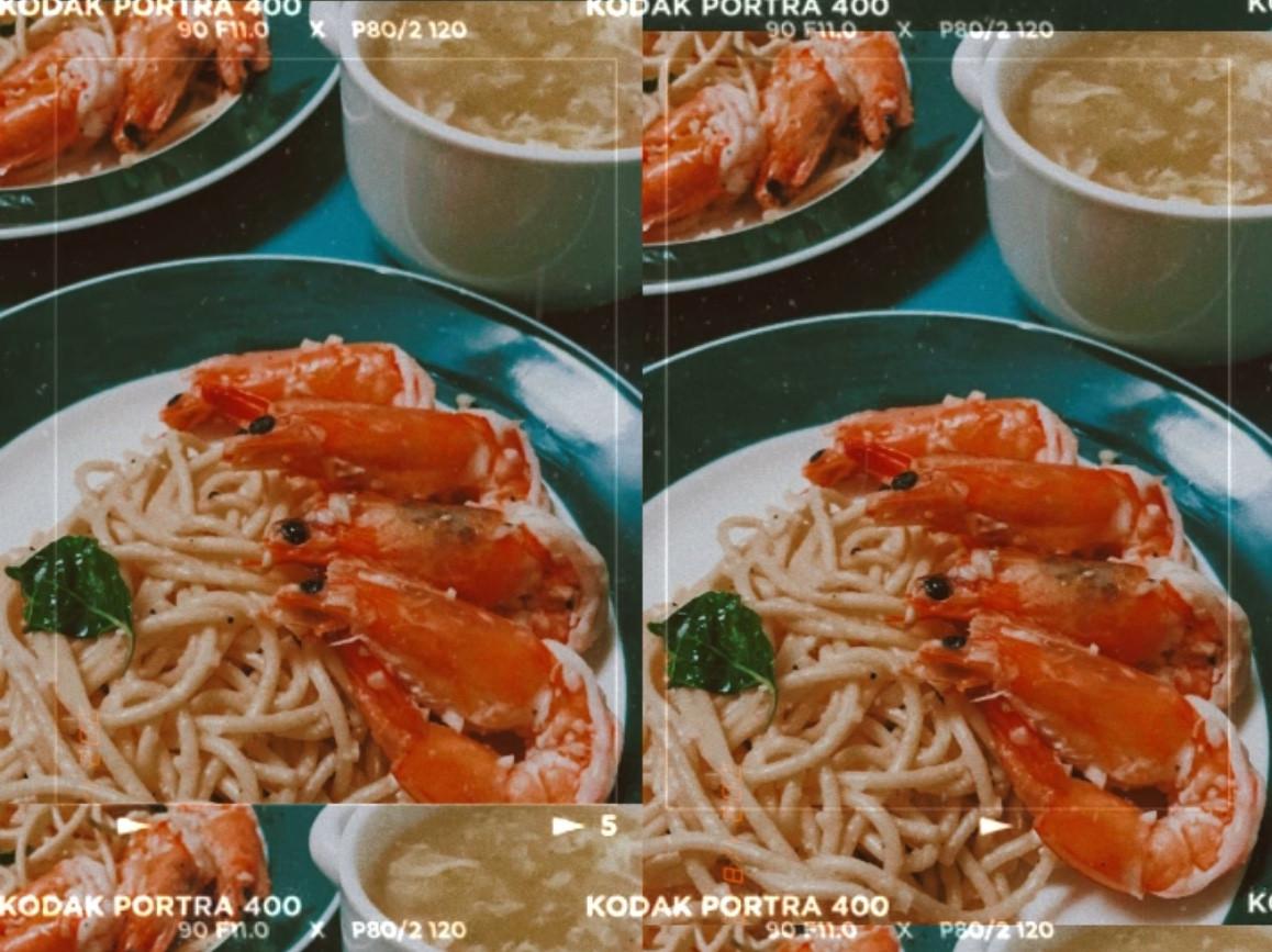 蒜香奶油義大利麵佐乾煎蝦蝦