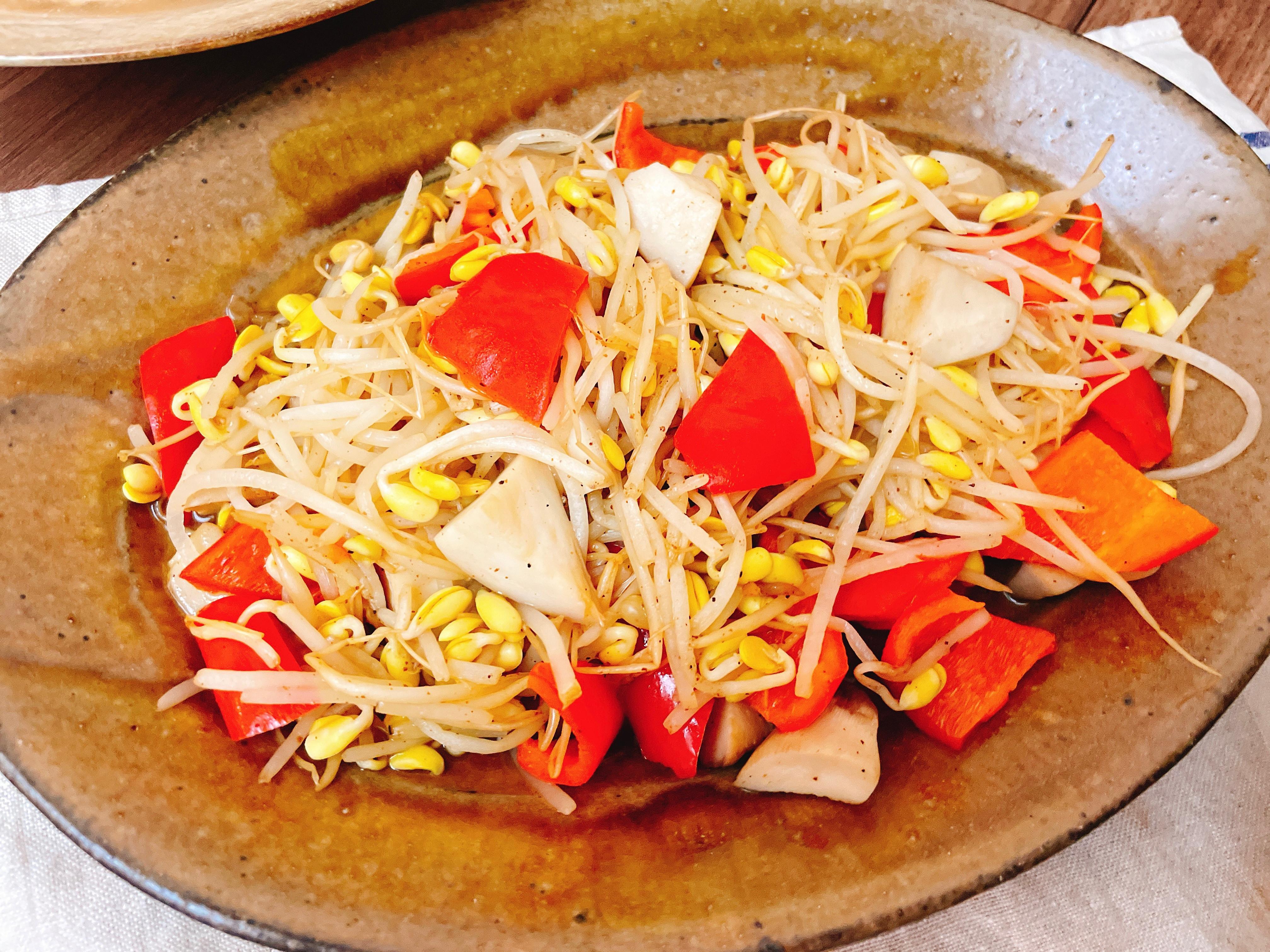 豆芽菜炒紅椒杏鮑菇